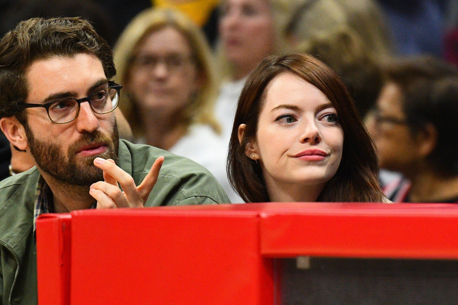 LOS ANGELES, CA - JANUARY 18: Actress Emma Stone and her boyfriend Dave McCary look on during a NBA game between the Golden State Warriors and the Los Angeles Clippers on January 18, 2019 at STAPLES Center in Los Angeles, CA., Image: 408646837, License: Rights-managed, Restrictions: FOR EDITORIAL USE ONLY. Icon Sportswire (A Division of XML Team Solutions) reserves the right to pursue unauthorized users of this image. If you violate our intellectual property you may be liable for: actual damages, loss of income, and profits you derive from the use of this image, and, where appropriate, the costs of collection and/or statutory damages up to 0,000 (USD)., Model Release: no, Credit line: Profimedia, Newscom