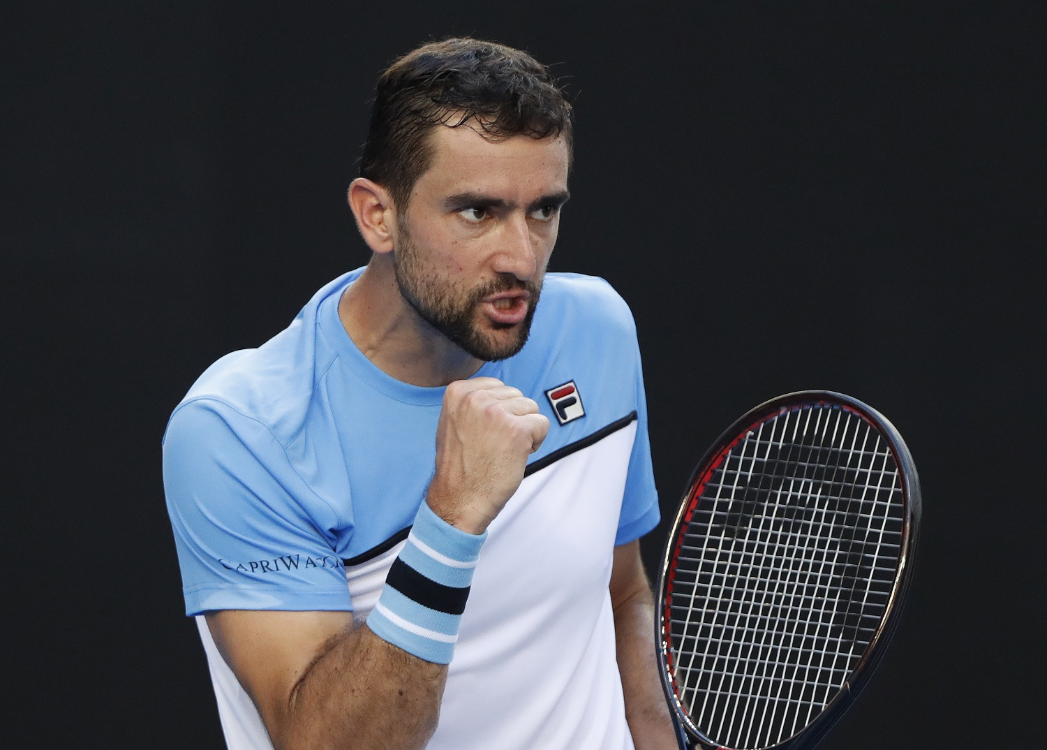 Tennis - Australian Open - Fourth Round - Melbourne Park, Melbourne, Australia, January 20, 2019. Croatias Marin Cilic gestures during the match against Spains Roberto Bautista Agut. REUTERS/Aly Song - UP1EF1K0RG43Y
