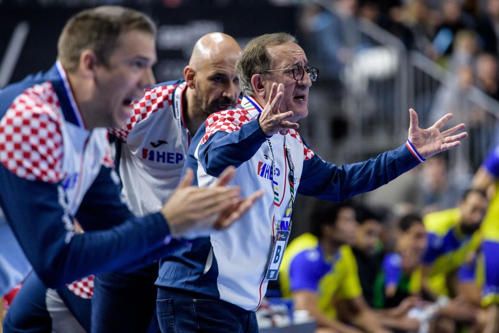 COLOGNE, GERMANY - JANUARY 20: Headcoach Lino Cervar of Croatia reacts during the Main Group 1 match at the 26th IHF Men's World Championship between Brazil and Croatia at the Lanxess Arena on January 20th, 2019 in Cologne, Germany. (Photo by Jörg Schüler/Getty Images)