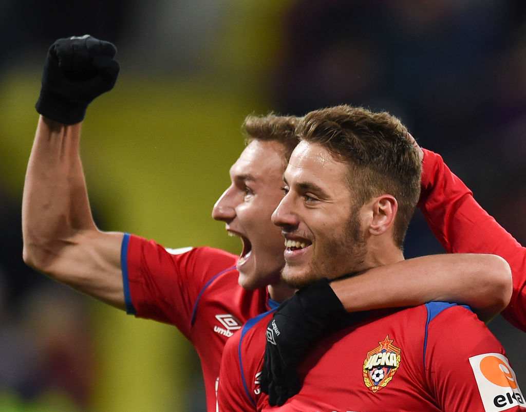 MOSCOW, RUSSIA - OCTOBER 28: Nikola Vlasic (R) and Fyodor Chalov of PFC CSKA Moscow celebrate after scoring a goal during the Russian Premier League match between PFC CSKA Moscow and FC Krasnodar at the VEB Arena Stadium on October 28, 2018 in Moscow, Russia. (Photo by Epsilon/Getty Images)