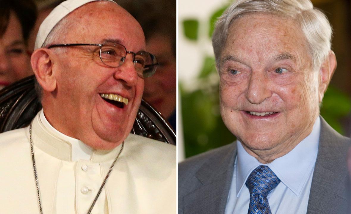 Papa Franjo (lijevo) i George Soros (desno)