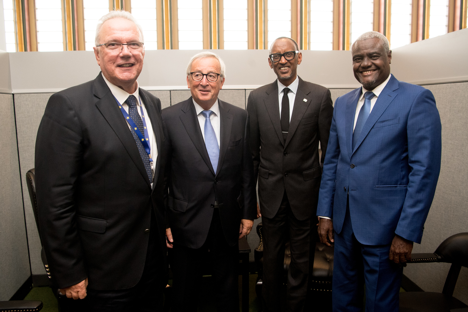 Commissioner Neven Mimica, EC president Jean Claude Juncker, Chairperson of the African Union Moussa Faki Mahamat, President of Rwanda Paul Kagame