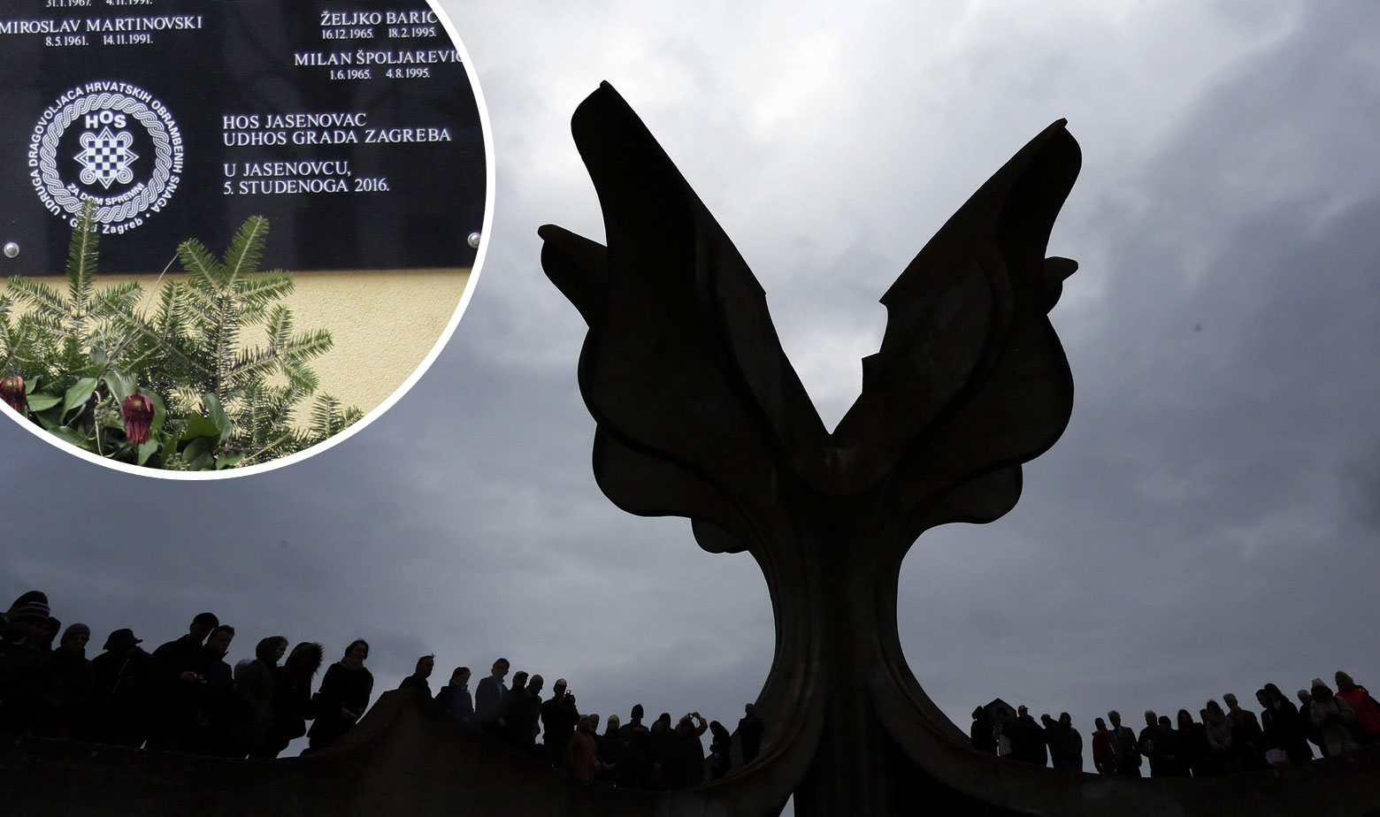 Illustration: Commemorative plaque to fallen veterans featuring Croatian Nazi salute (circle), which was until 2018 placed near WWII-era concentration camp Jasenovac