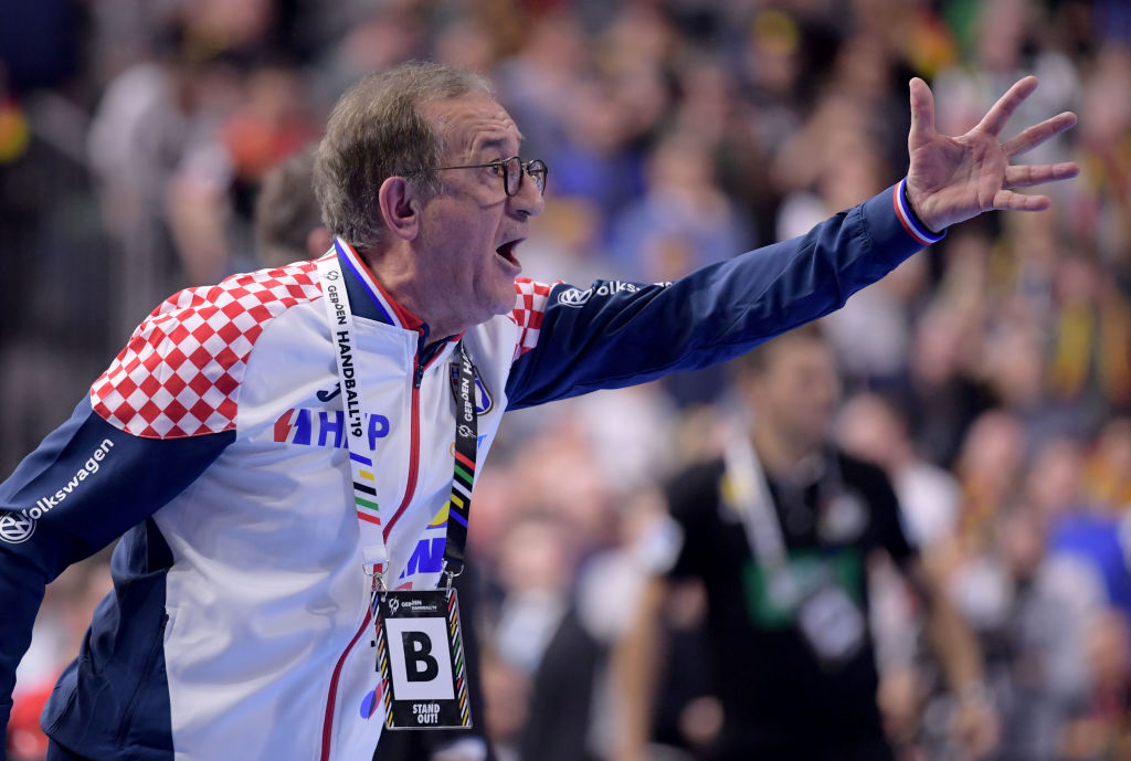 COLOGNE, GERMANY - JANUARY 21: Head coach Lino Cervar of Croatia reacts during the 26th IHF Men's World Championship group 1 match between Croatia and Germany at Lanxess Arena on January 21, 2019 in Cologne, Germany. (Photo by Jörg Schüler/Getty Images)