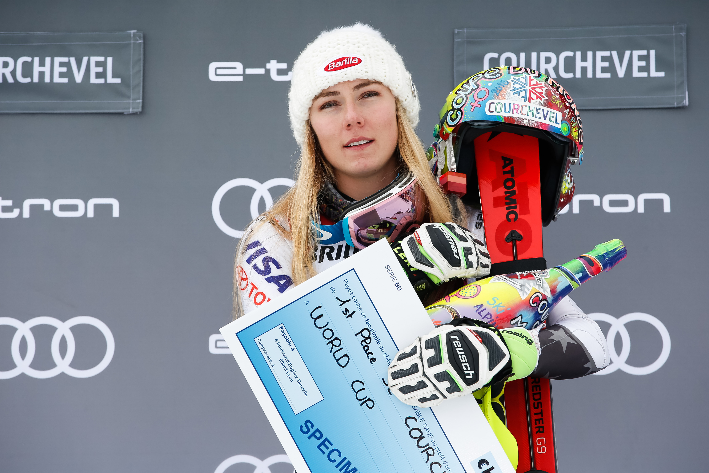 COURCHEVEL, FRANCE - DECEMBER 22: Mikaela Shiffrin of USA takes 1st place during the Audi FIS Alpine Ski World Cup Women's Slalom on December 22, 2018 in Courchevel France. (Photo by Christophe Pallot/Agence Zoom/Getty Images)