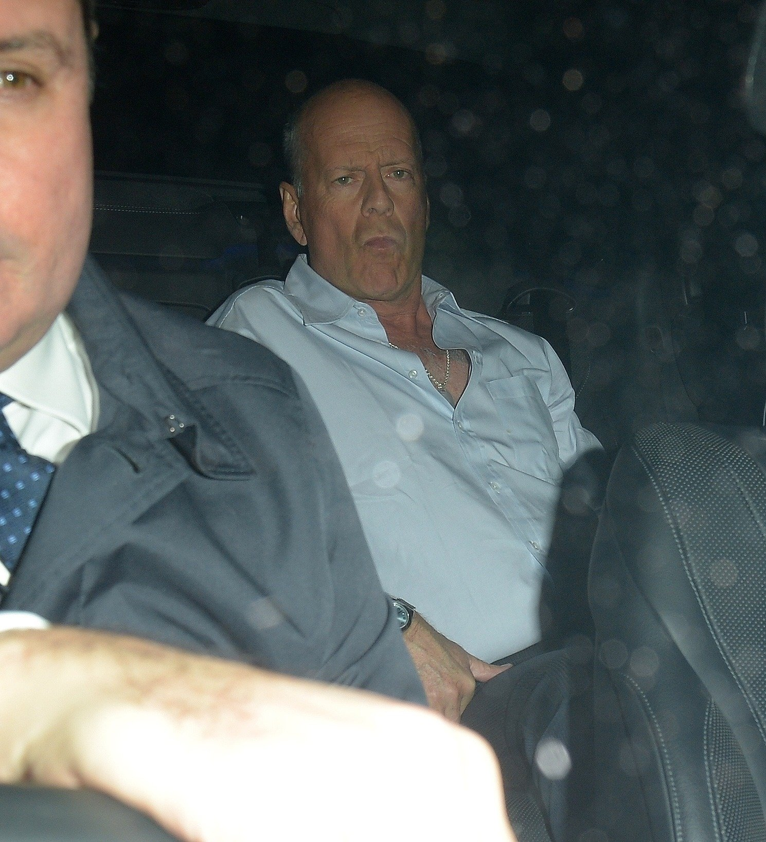 BGUK_1451155 - London, UNITED KINGDOM  - A Very Intoxicated Bruce Willis is seen being helped into his car as he leaves Annabel's Private Members Club  Pictured: Bruce Willis    *UK Clients - Pictures Containing Children Please Pixelate Face Prior To Publication*, Image: 405745939, License: Rights-managed, Restrictions: , Model Release: no, Credit line: Profimedia, Xposurephotos