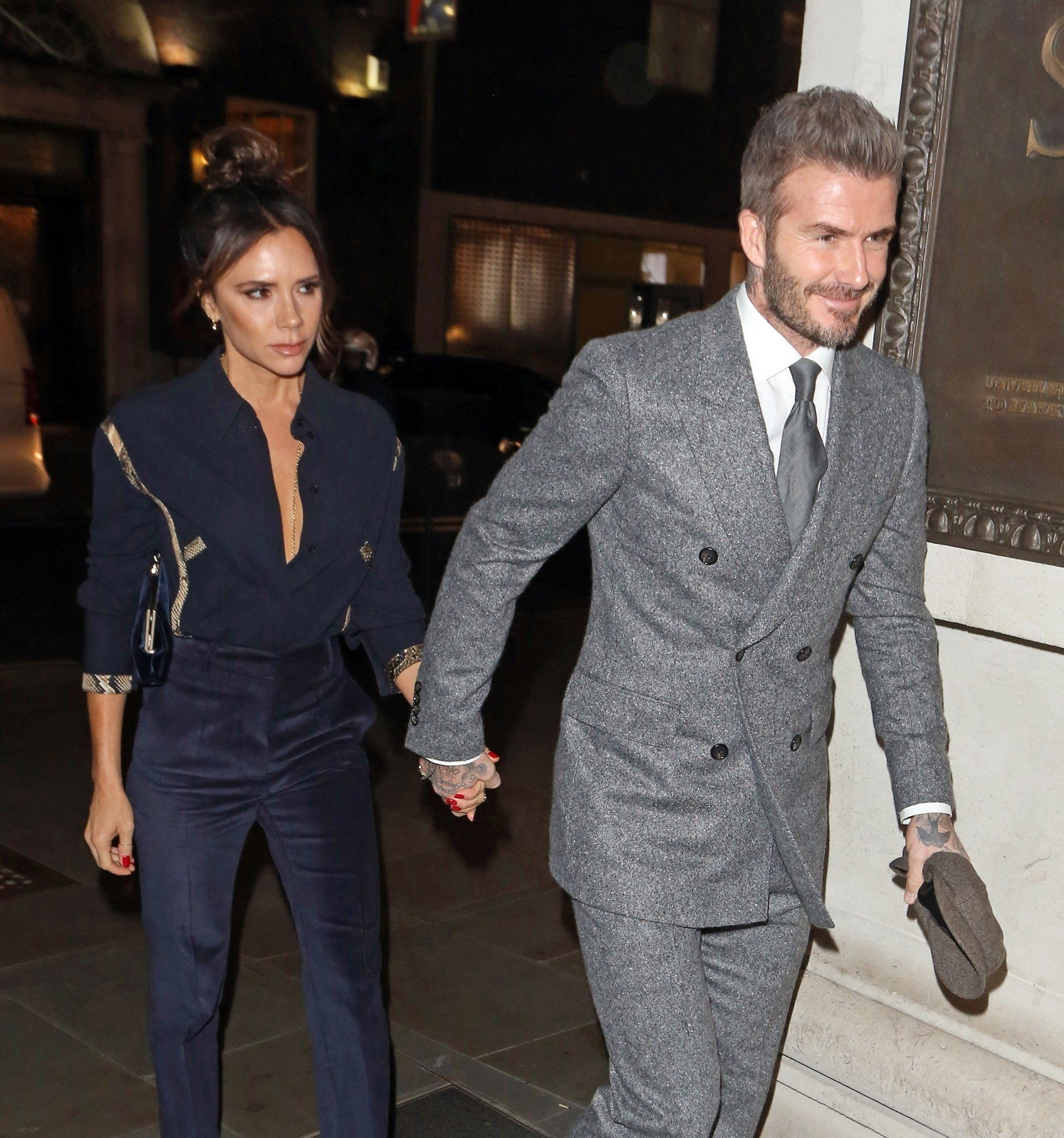 BGUK_1450950 - London, UNITED KINGDOM  - Victoria and David Beckham seen arriving at The Mens GQ Dinner to celebrate London Fashion Week in London. Victoria and David were seen arriving hand in hand at Brasserie of Light restaurant in Selfridges.  Pictured: David Beckham, Victoria Beckham    *UK Clients - Pictures Containing Children Please Pixelate Face Prior To Publication*, Image: 405735194, License: Rights-managed, Restrictions: , Model Release: no, Credit line: Profimedia, Xposurephotos