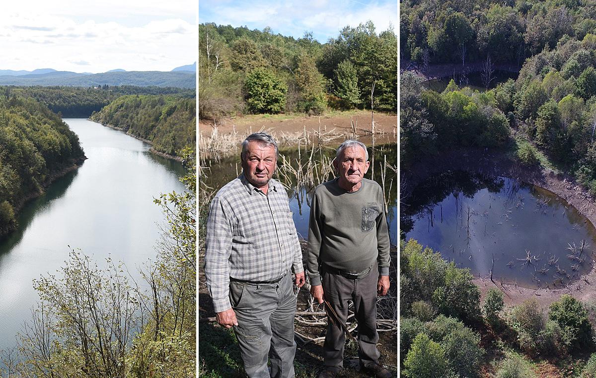 Rijeka Dobra (lijevo); Ivan Mateša - Krkan i Josip Špehar (u sredini); jezerce snimljeno iz zraka (desno)