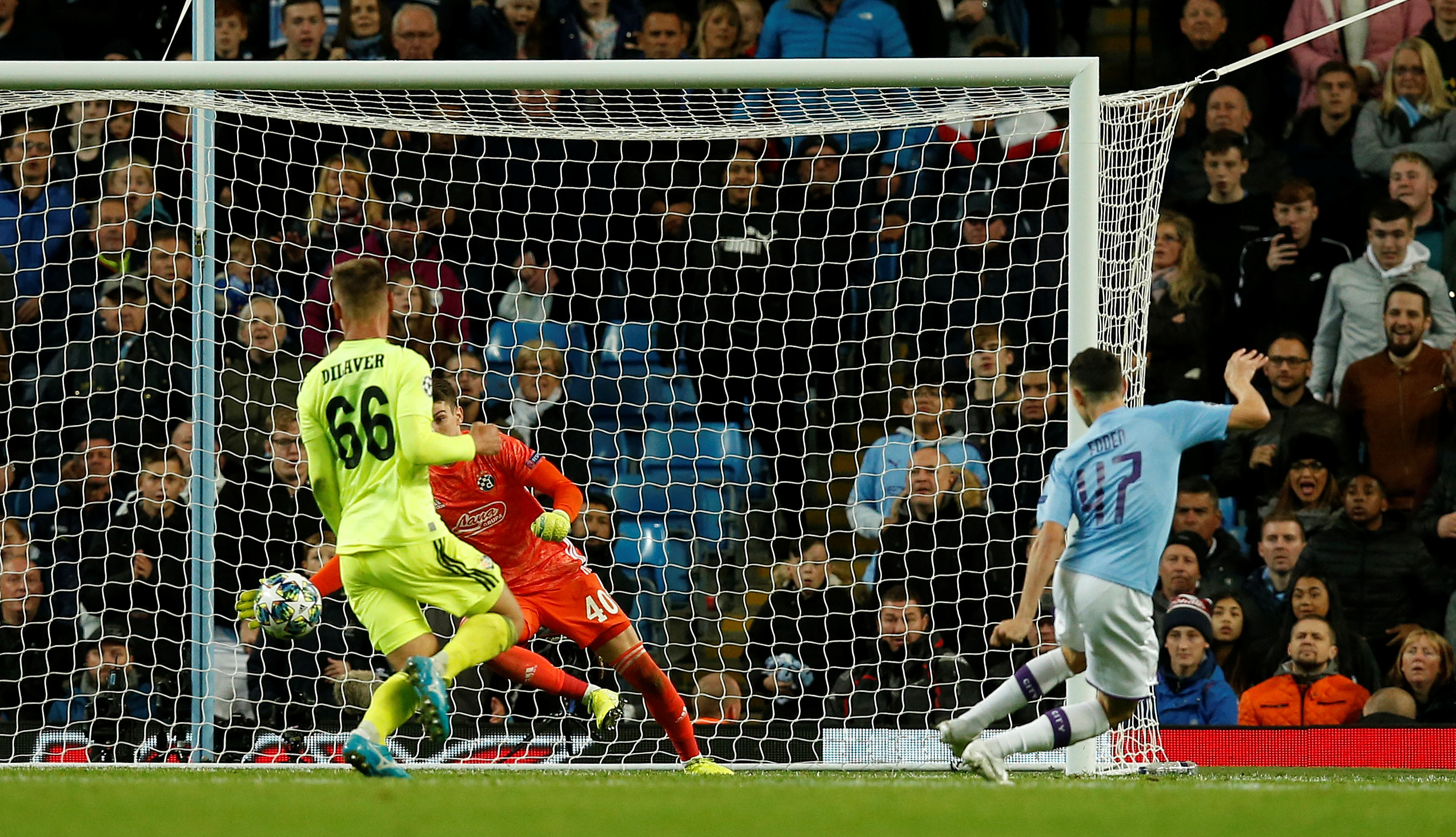 Soccer Football - Champions League - Group C - Manchester City v GNK Dinamo Zagreb - Etihad Stadium, Manchester, Britain - October 1, 2019  Manchester City's Phil Foden scores their second goal   REUTERS/Andrew Yates
