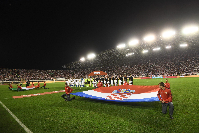 Split, 101019.  Stadion Poljud. Kvalifikacijska utakmica 7. kola za UEFA Euro 2020 izmedju Hrvatske i Madjarske. Na fotografiji: pocetak utakmice. Foto: Tom Dubravec / CROPIX