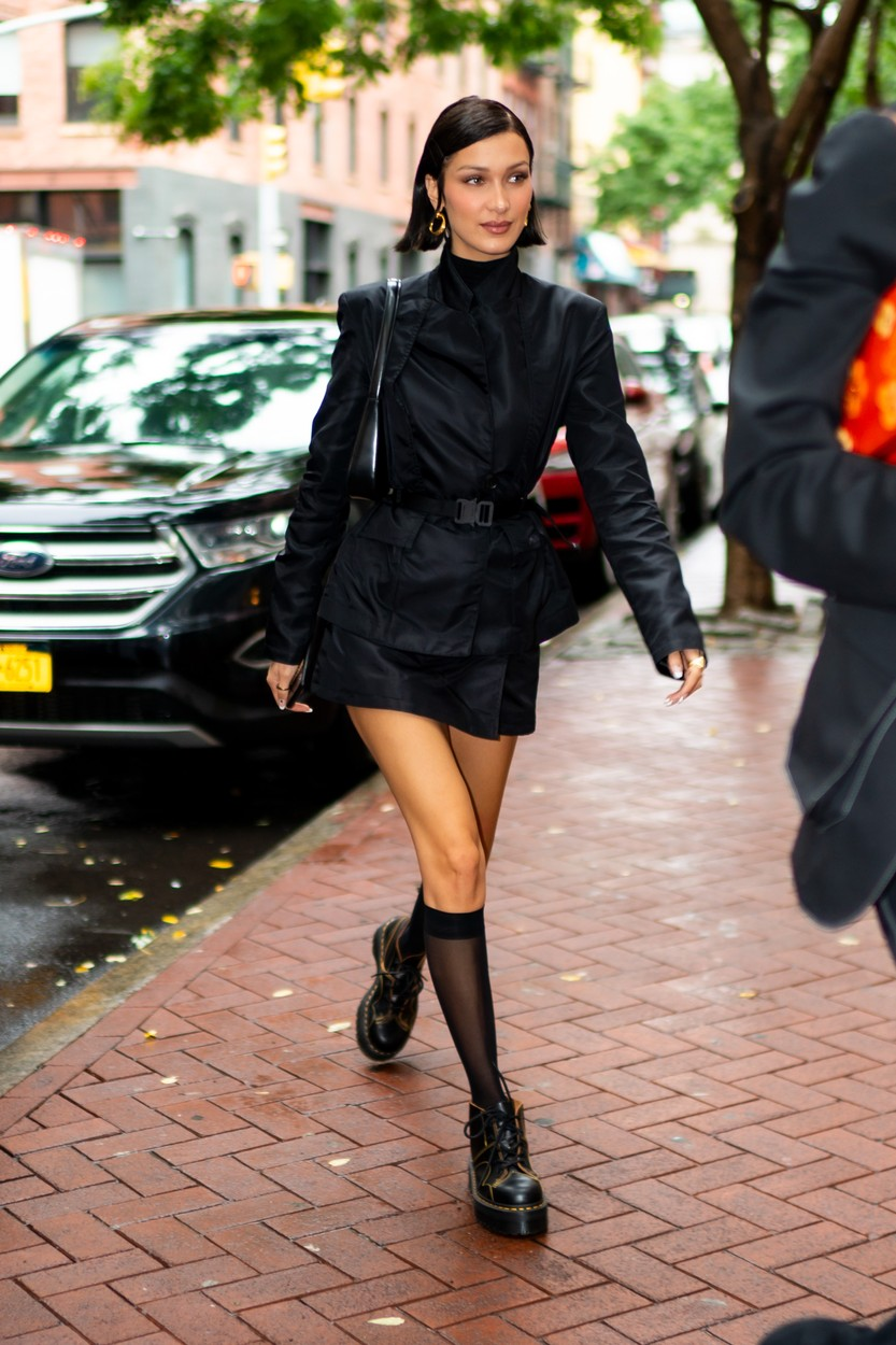 10/09/2019 Bella Hadid celebrates her 23rd birthday with Gigi Hadid, Anwar Hadid, and Dua Lipa. The birthday girl wore a black mini dress, knee high tights, and black boots. Gigi sported a tie dye sweat suit and white trainers. Dua wore a blue top, dark jeans, and black boots. Anwar sported a black hoodie, plaid jacket, and velvet sweats. **VIDEO AVAILABLE**, Image: 475974236, License: Rights-managed, Restrictions: NO usage without agreed price and terms. Please contact sales@theimagedirect.com, Model Release: no, Credit line: TheImageDirect.com / The Image Direct / Profimedia