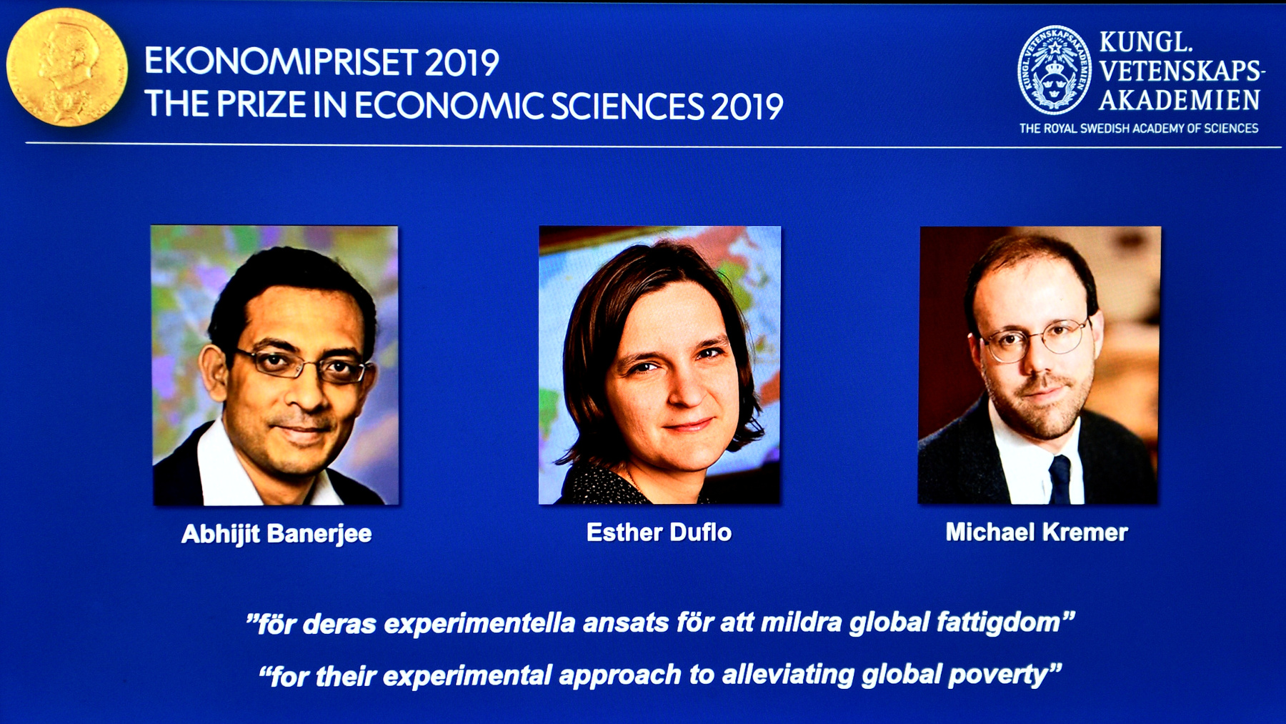 Abhijit Banerjee, Esther Duflo i Michael Kremer, dobitnici Nobelove nagrade za ekonomske znanosti za 2019. godinu