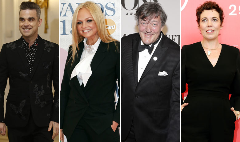 Robbie Williams, Emma Bunton, Stephen Fry, Olivia Colman