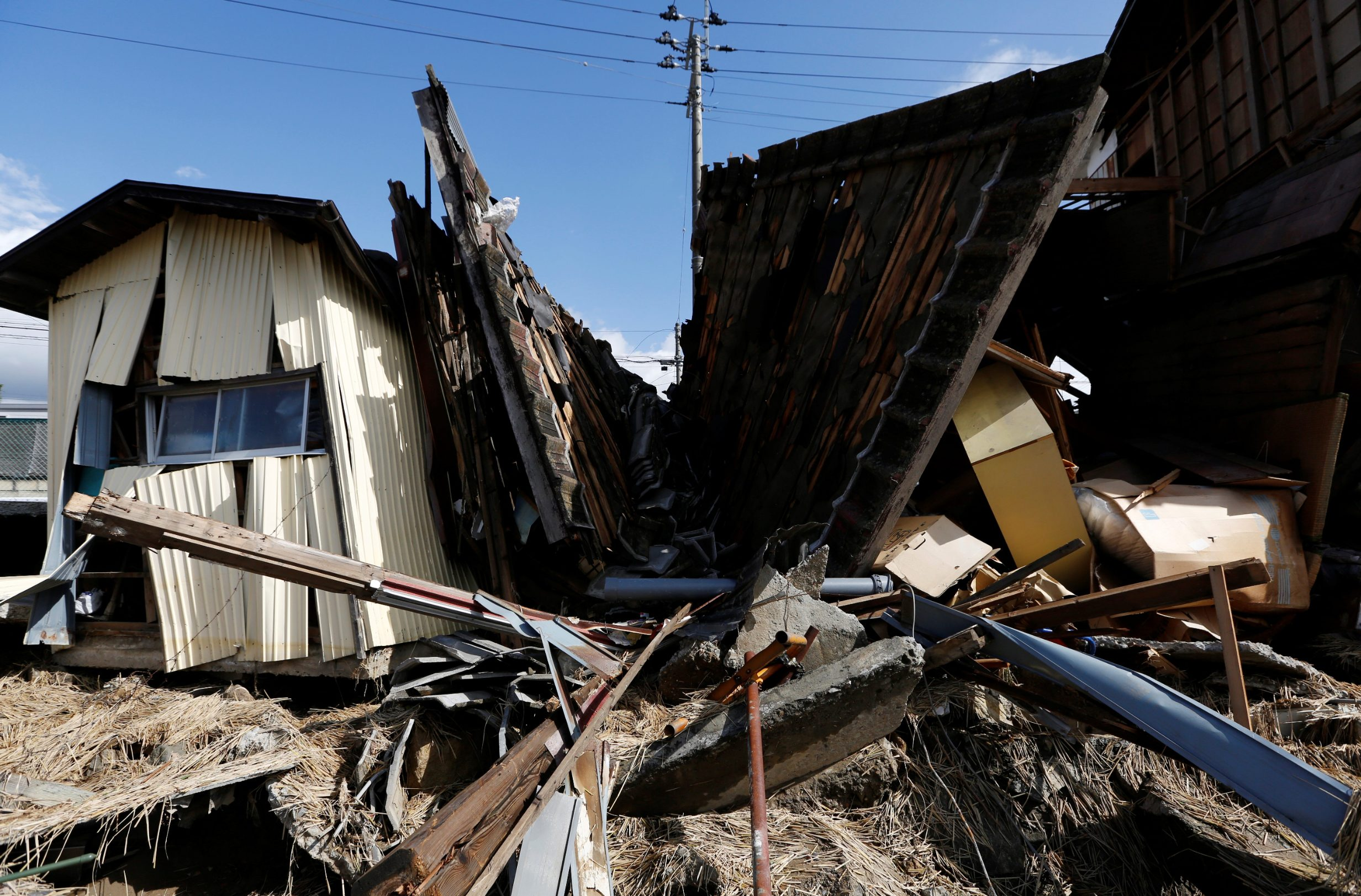 Destroyed houses are seen, in the aftermath of Typhoon Hagibis, in Koriyama, Fukushima prefecture, Japan October 15, 2019. REUTERS/Soe Zeya Tun