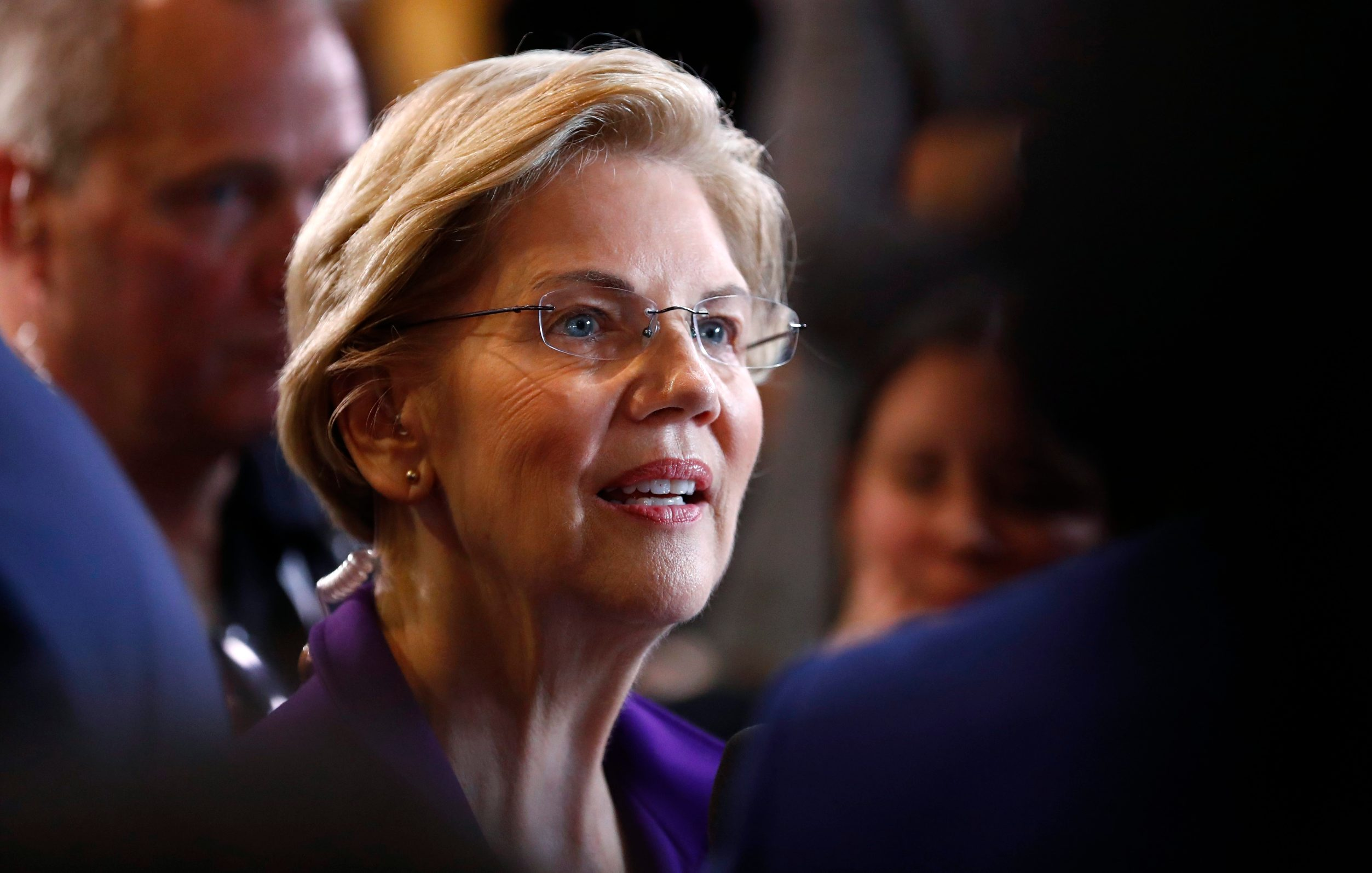 Senator Elizabeth Warren does an interview in the Spin Room after the fourth Democratic U.S. 2020 presidential election debate at Otterbein University  in Westerville, Ohio October 15, 2019. REUTERS/Aaron Josefczyk