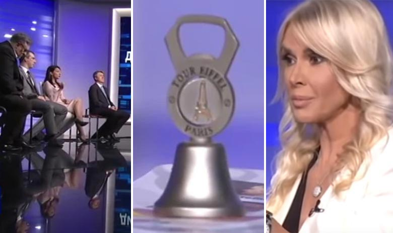 Gosti u emisiji 'Upitnik' (lijevo), zvonce koje je u emisiju donijela Marinika Tepić (u sredini), voditeljica Olivera Jovićević (desno)