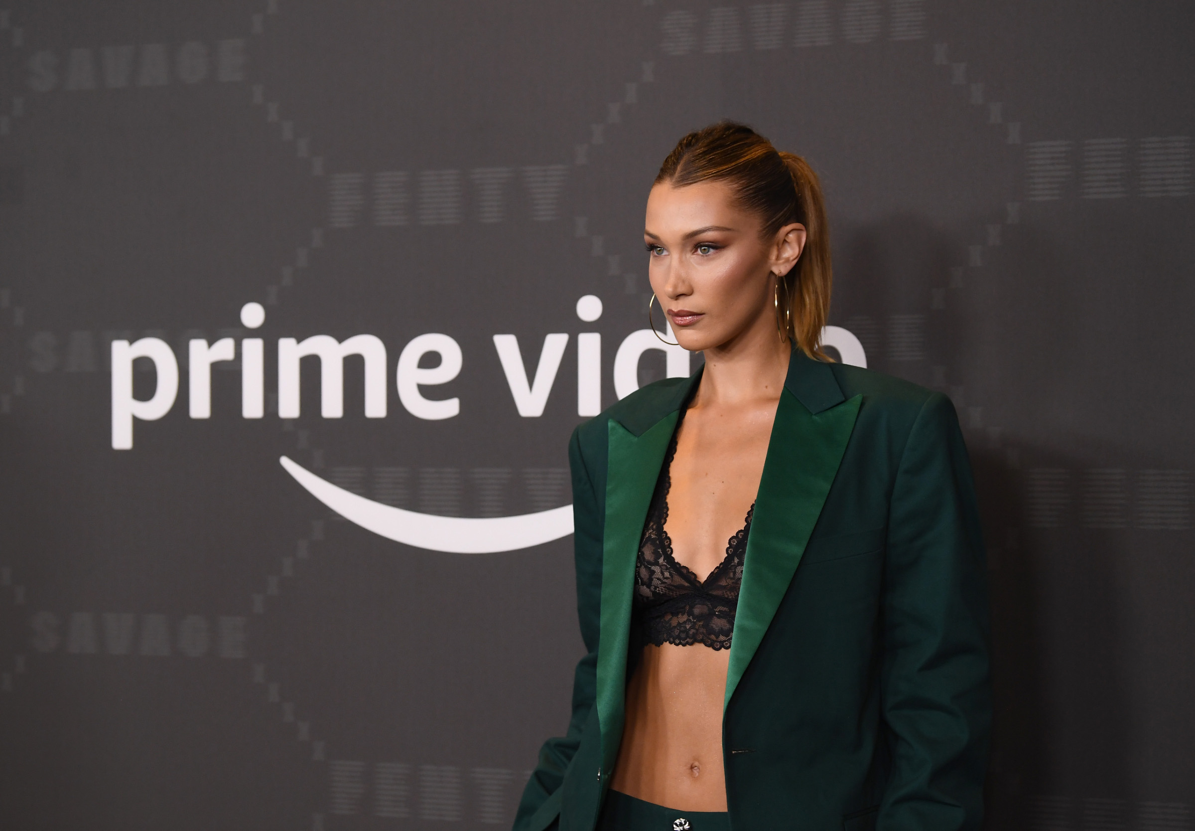 BROOKLYN, NEW YORK - SEPTEMBER 10: Bella Hadid attends Savage X Fenty Show Presented By Amazon Prime Video - Arrivals at Barclays Center on September 10, 2019 in Brooklyn, New York. (Photo by Dimitrios Kambouris/Getty Images for Savage X Fenty Show Presented by Amazon Prime Video )