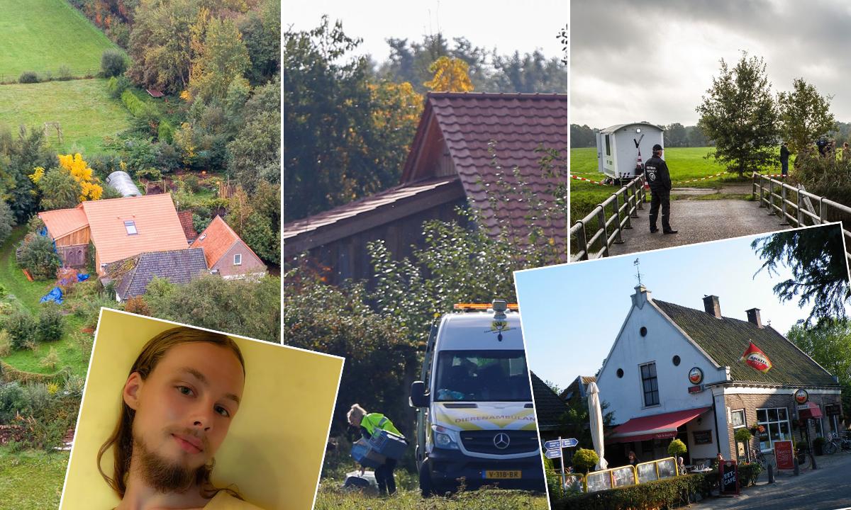 Pozadina: Farma na kojoj je pronađena zatočena obitelj; Uokvireno: Jan Zon van Dorsten i pivnica Ruinerwoldu gdje je otkrio svoju tajnu