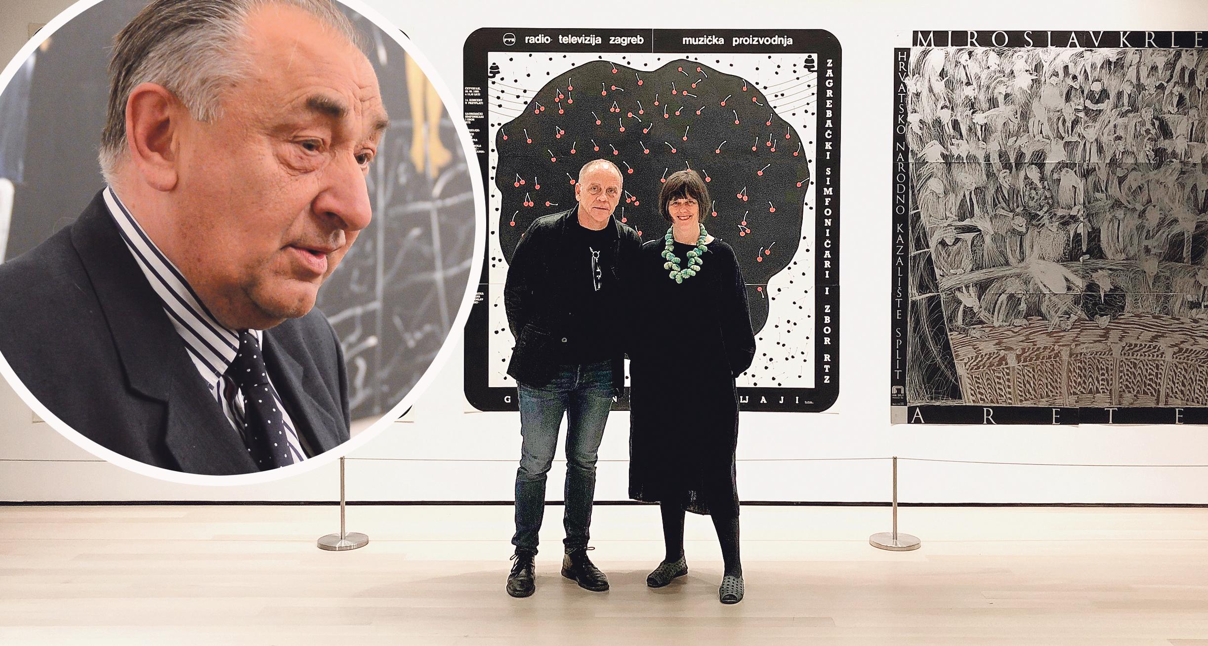 Boris Bućan (u krugu lijevo), Mirko Ilić i kustosica MoMA-e za arhitekturu i dizajn Juliet Kinchin pred Bučanovim plakatima u postavu (desno)
