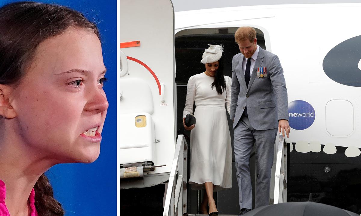 Mlada ekološka aktivistica Greta Thurnberg i bivši vojni pilot princ Harry, koji je danas veliki protivnik letenja