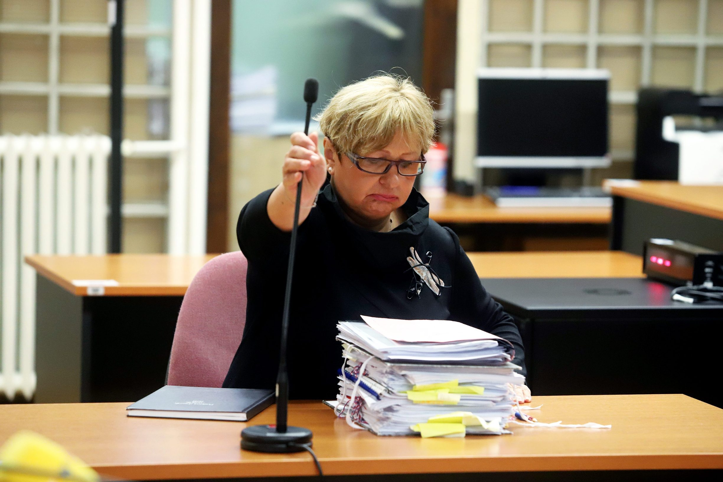 Varazdin, 211019. Na Zupanijskom sudu  nastavljene je sudjenje Smiljani Srnec za ubojstvo sestre. Na fotografiji: Irma Bagaric, tuziteljstvo. Foto: Zeljko Hajdinjak / CROPIX