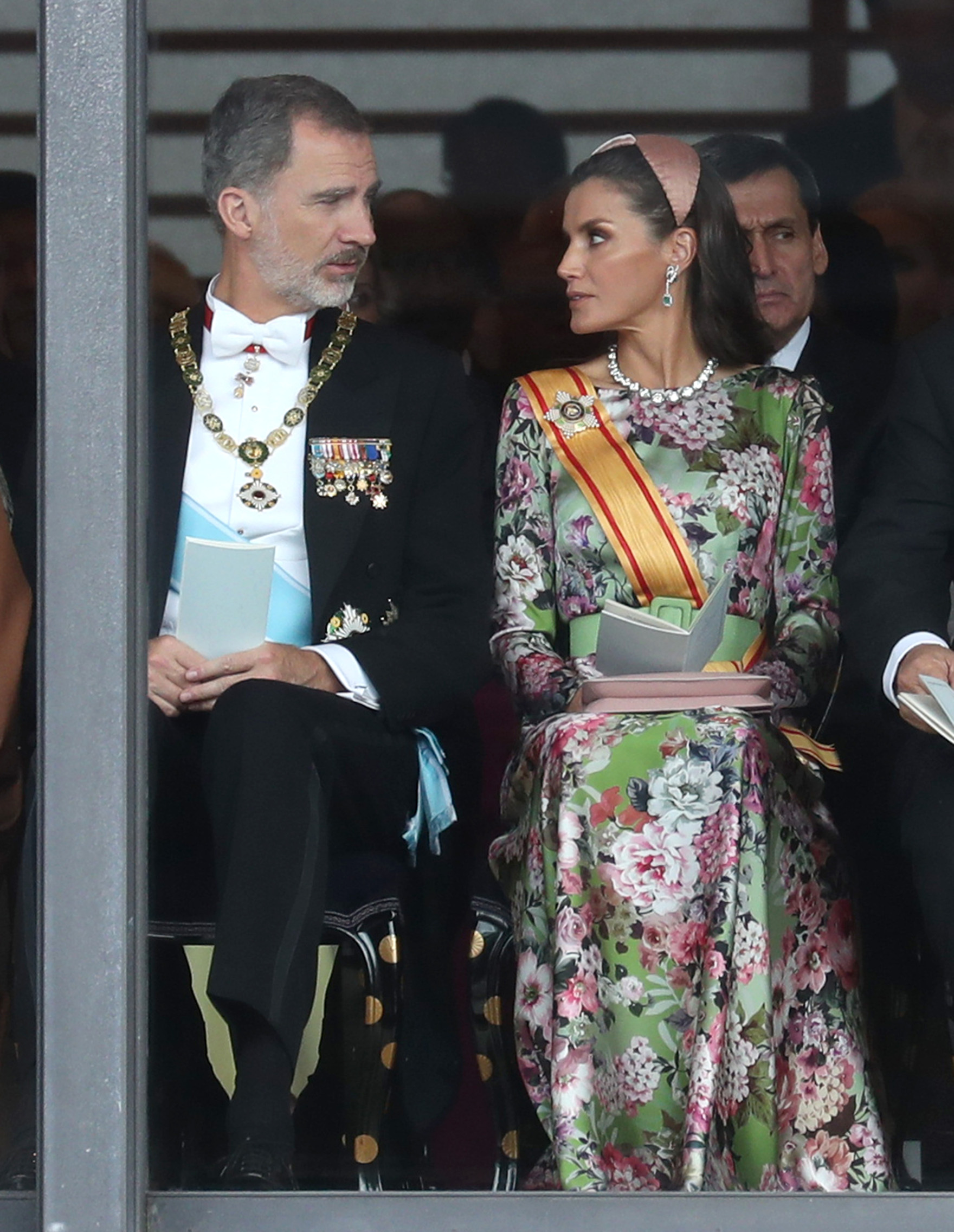 TOKYO, JAPAN - OCTOBER 22:  King Felipe VI of Spain and Queen Letizia of Spain attend the Enthronement Ceremony of Emperor Naruhito at the Imperial Palace on October 22, 2019 in Tokyo, Japan. (Photo by Chris Jackson - Pool/Getty Images)