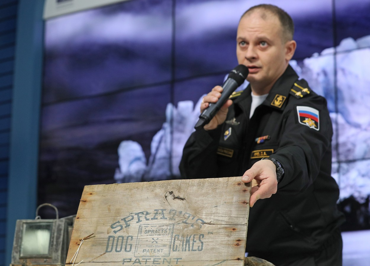 MOSCOW, RUSSIA - OCTOBER 22, 2019: Denis Krets, expeditionary detachment commander, senior specialist of the Russian Northern Fleet's search, rescue and emergency group, during a press conference on the results of the Russian Northern Fleet's and Russian Geographical Society's joint expedition to the Franz Josef Land Archipelago. Alexander Shcherbak/TASS/Sipa USA, Image: 478319667, License: Rights-managed, Restrictions: *** World Rights Except Russia and Japan ***, Model Release: no, Credit line: TASS / ddp USA / Profimedia
