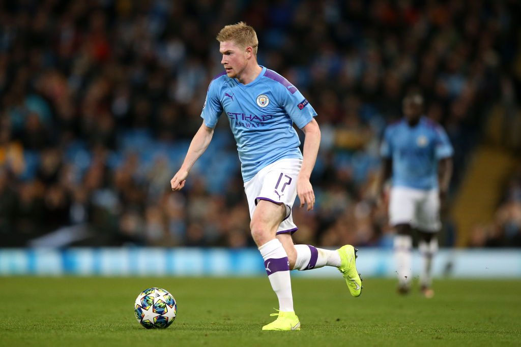 MANCHESTER, ENGLAND - OCTOBER 22: Kevin De Bruyne of Manchester City in action during the UEFA Champions League group C match between Manchester City and Atalanta at Etihad Stadium on October 22, 2019 in Manchester, United Kingdom. (Photo by Jan Kruger/Getty Images)