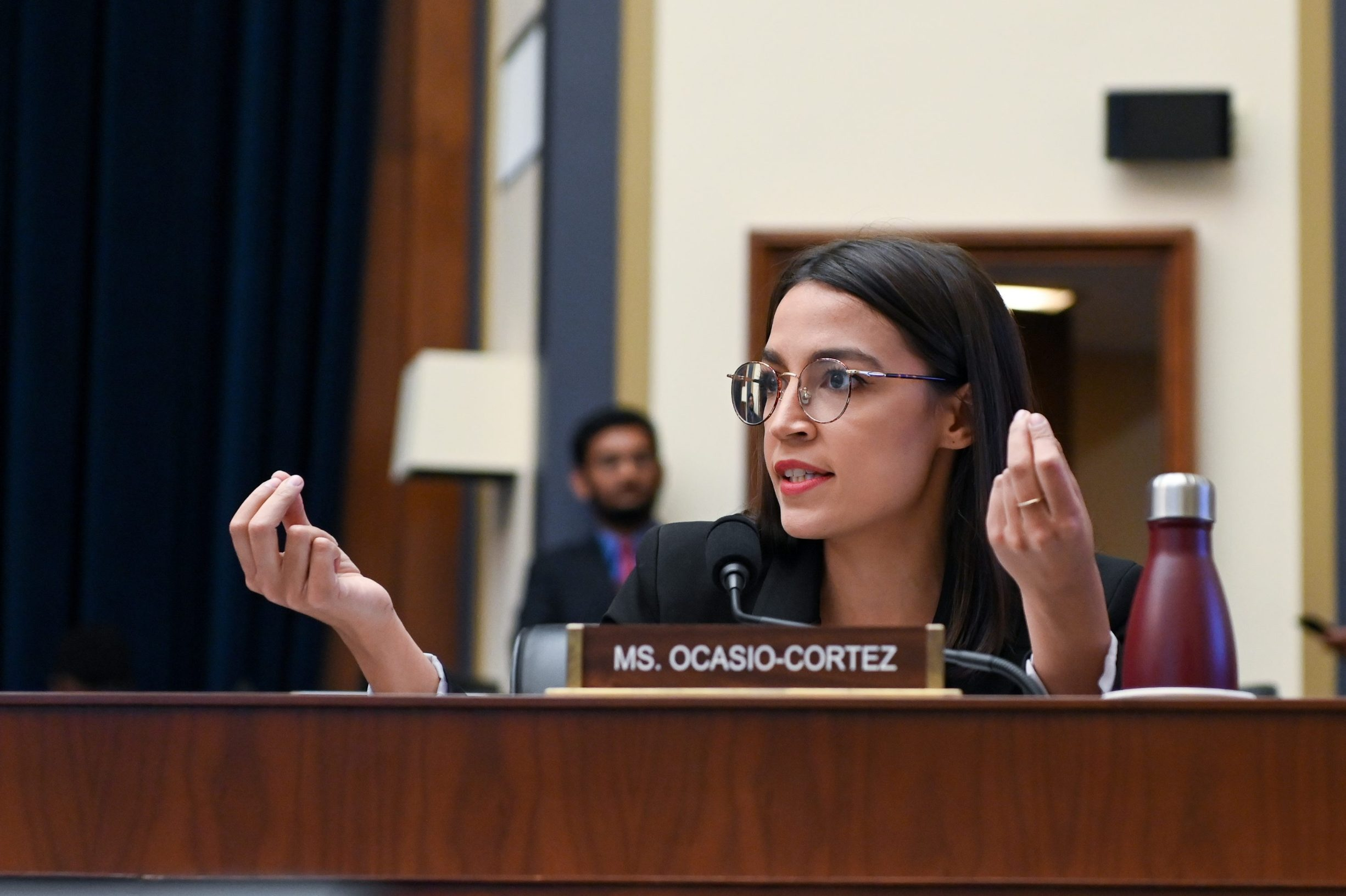 Rep. Alexandria Ocasio-Cortez (D-NY) participates in a House Financial Services Committee hearing with Facebook Chairman and CEO Mark Zuckerberg in Washington, U.S., October 23, 2019. REUTERS/Erin Scott