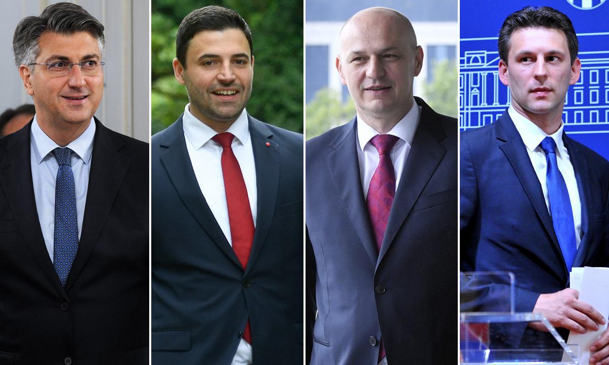 Andrej Plenković, Davor Bernardić, Mislav Kolakušić i Božo Petrov