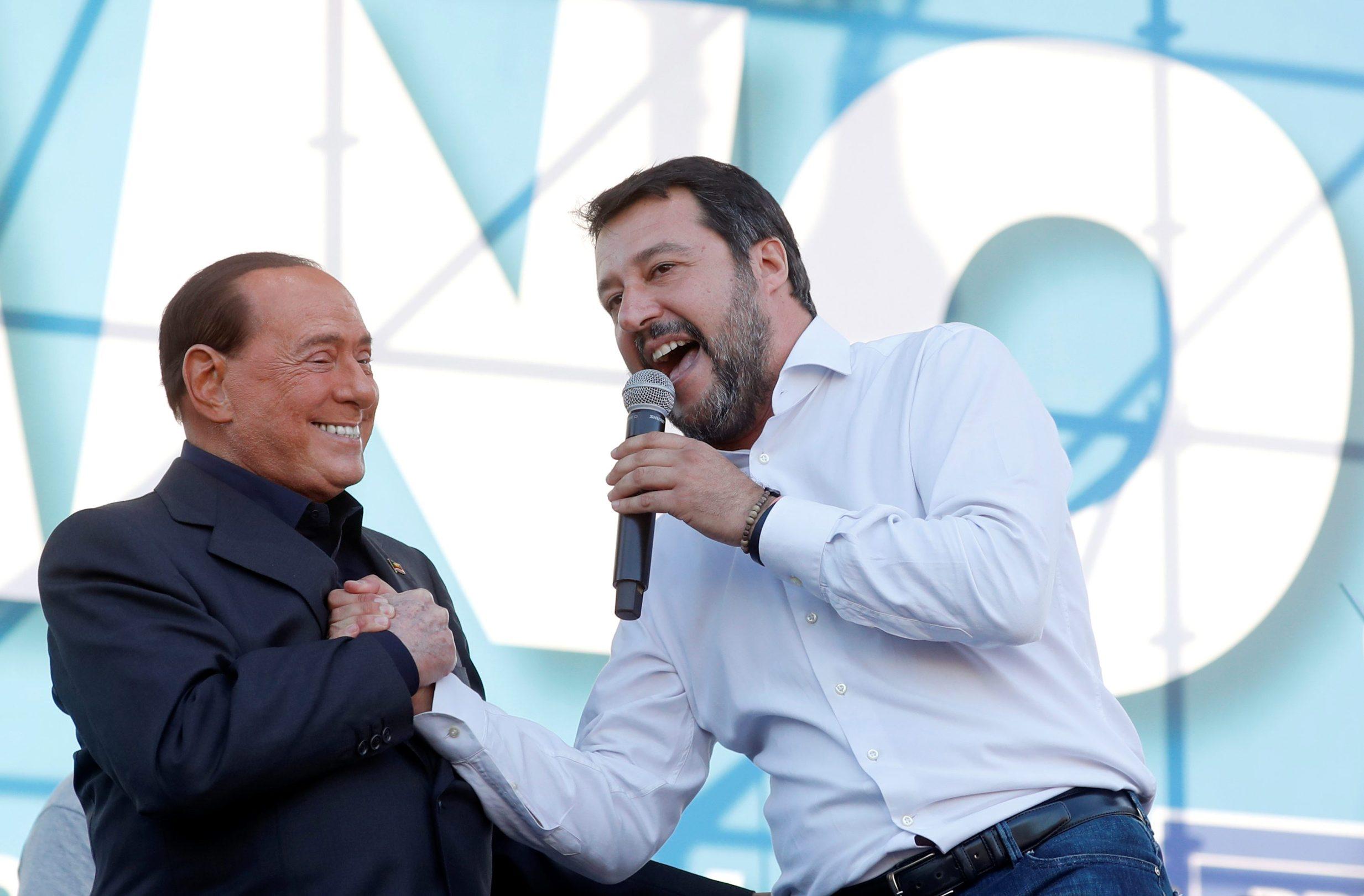 Silvio Berlusconi i Matteo Salvini na protuvladinim prosvjedima u Rimu