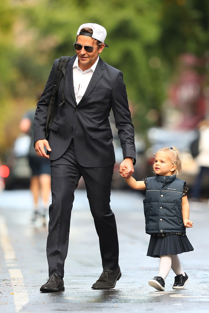 10/27/2019 EXCLUSIVE: Bradley Cooper and daughter are twinning in a adorable moment in New York City. The 44 year old American actor looked suave in a white button down under a dark suit as he held hands with his daughter who was also dressed in all black vest and skirt., Image: 479268073, License: Rights-managed, Restrictions: Exclusive NO usage without agreed price and terms. Please contact sales@theimagedirect.com, Model Release: no, Credit line: TheImageDirect.com / The Image Direct / Profimedia