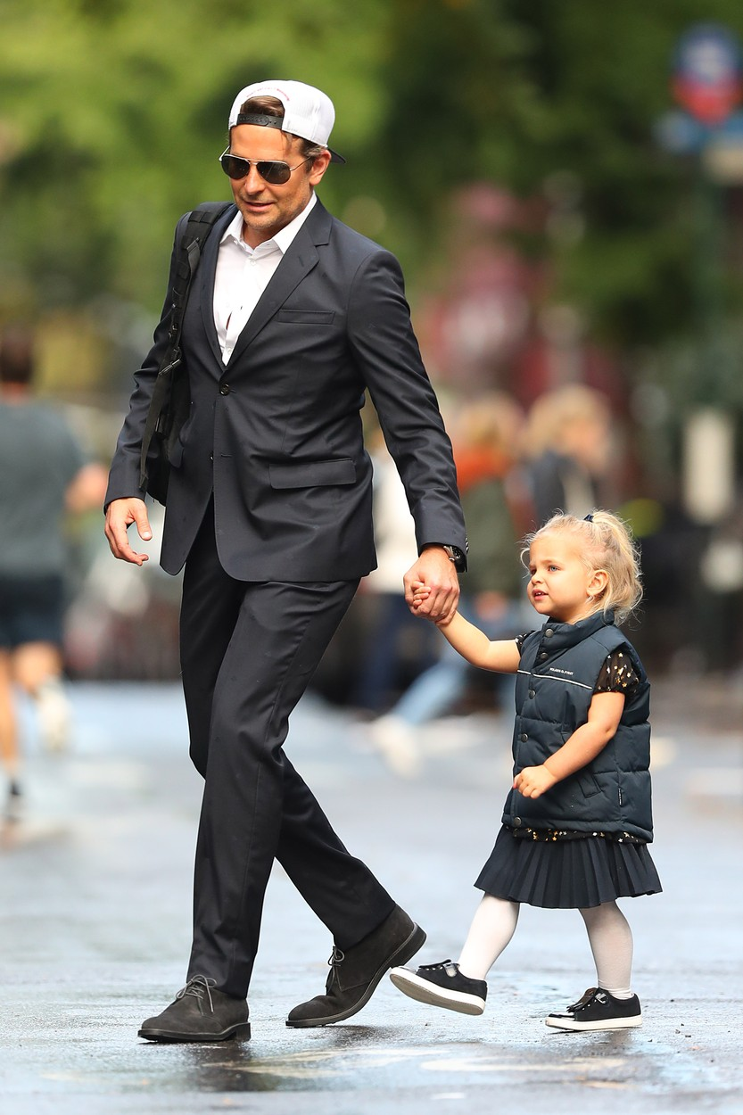 10/27/2019 EXCLUSIVE: Bradley Cooper and daughter are twinning in a adorable moment in New York City. The 44 year old American actor looked suave in a white button down under a dark suit as he held hands with his daughter who was also dressed in all black vest and skirt., Image: 479268106, License: Rights-managed, Restrictions: Exclusive NO usage without agreed price and terms. Please contact sales@theimagedirect.com, Model Release: no, Credit line: TheImageDirect.com / The Image Direct / Profimedia