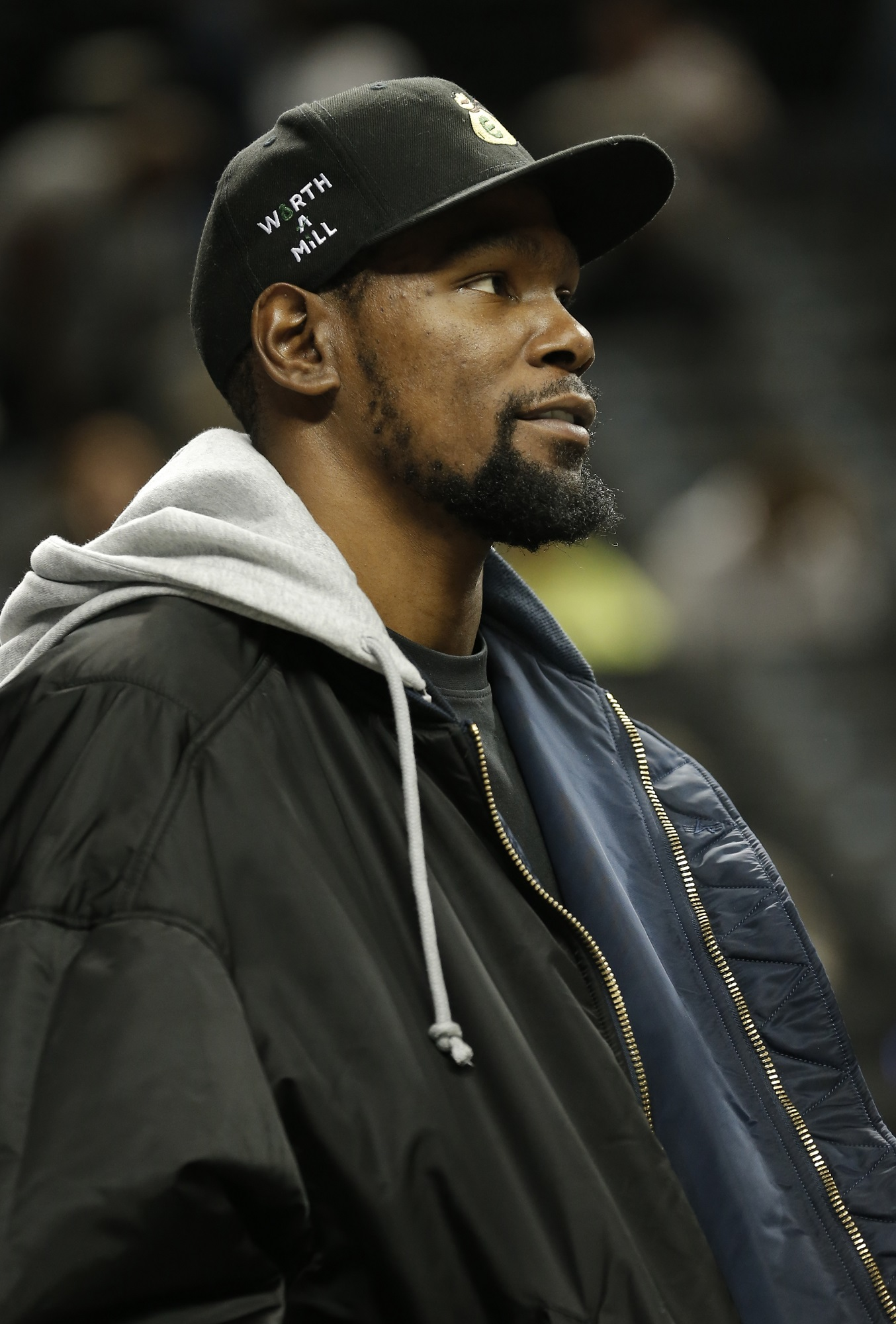 Oct 18, 2019; Brooklyn, NY, USA; Brooklyn Nets forward Kevin Durant (7) before the game against the Toronto Raptors at Barclays Center. Mandatory Credit: Nicole Sweet-USA TODAY Sports - 13534990