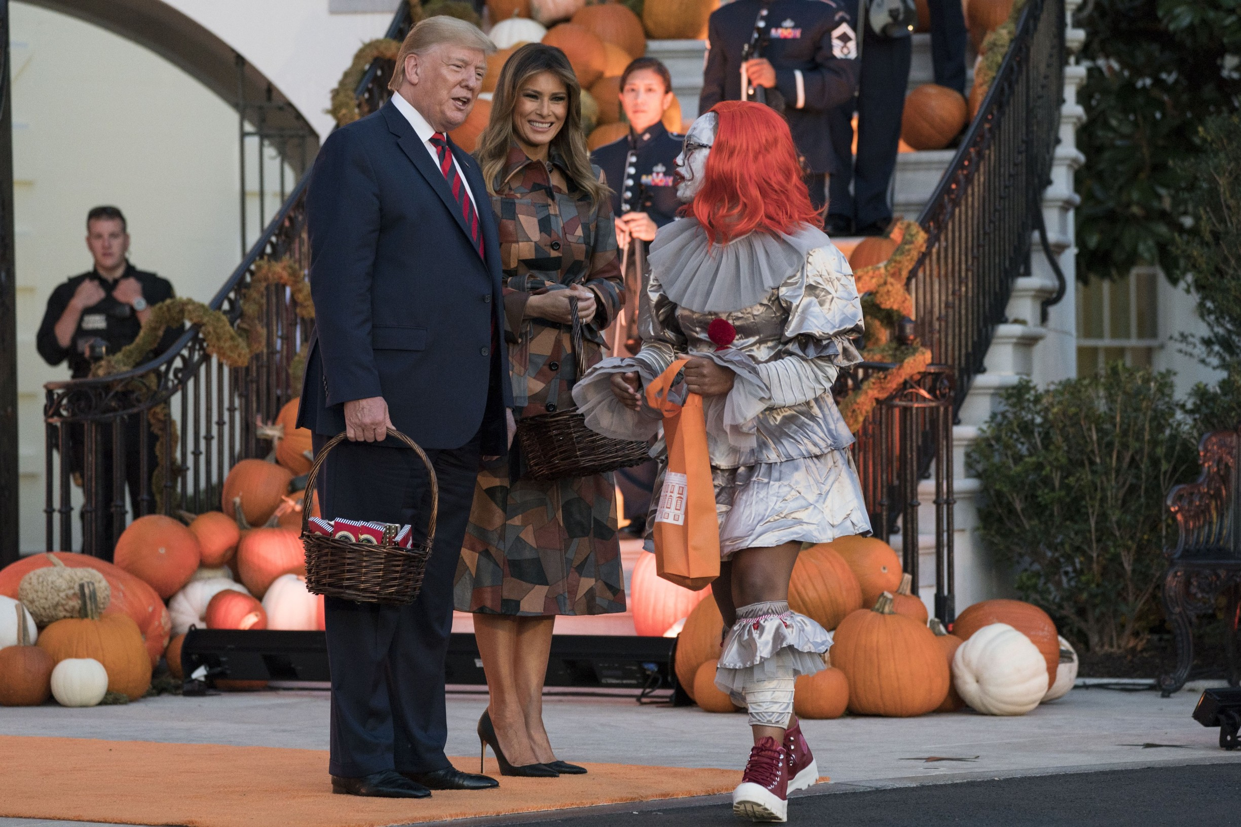 President Donald Trump and first lady Melania Trump participate in a Halloween celebration on the South Portico of the White House in Washington, DC on Monday, October 28, 2019.       Photo by /UPI, Image: 479489179, License: Rights-managed, Restrictions: , Model Release: no, Credit line: SARAH SILBIGER / UPI / Profimedia