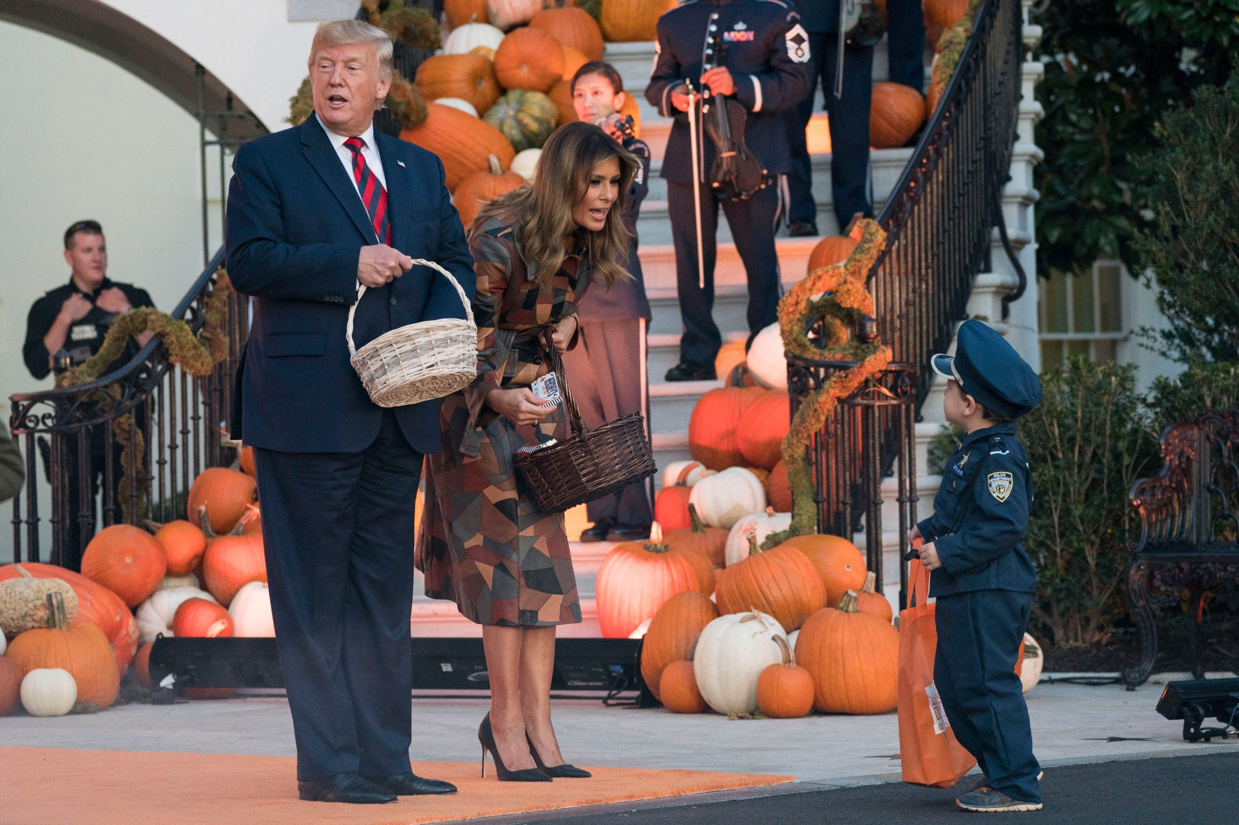 President Donald Trump and first lady Melania Trump participate in a Halloween celebration on the South Portico of the White House in Washington, DC on Monday, October 28, 2019., Image: 479495406, License: Rights-managed, Restrictions: *** World Rights ***, Model Release: no, Credit line: Sipa USA / ddp USA / Profimedia