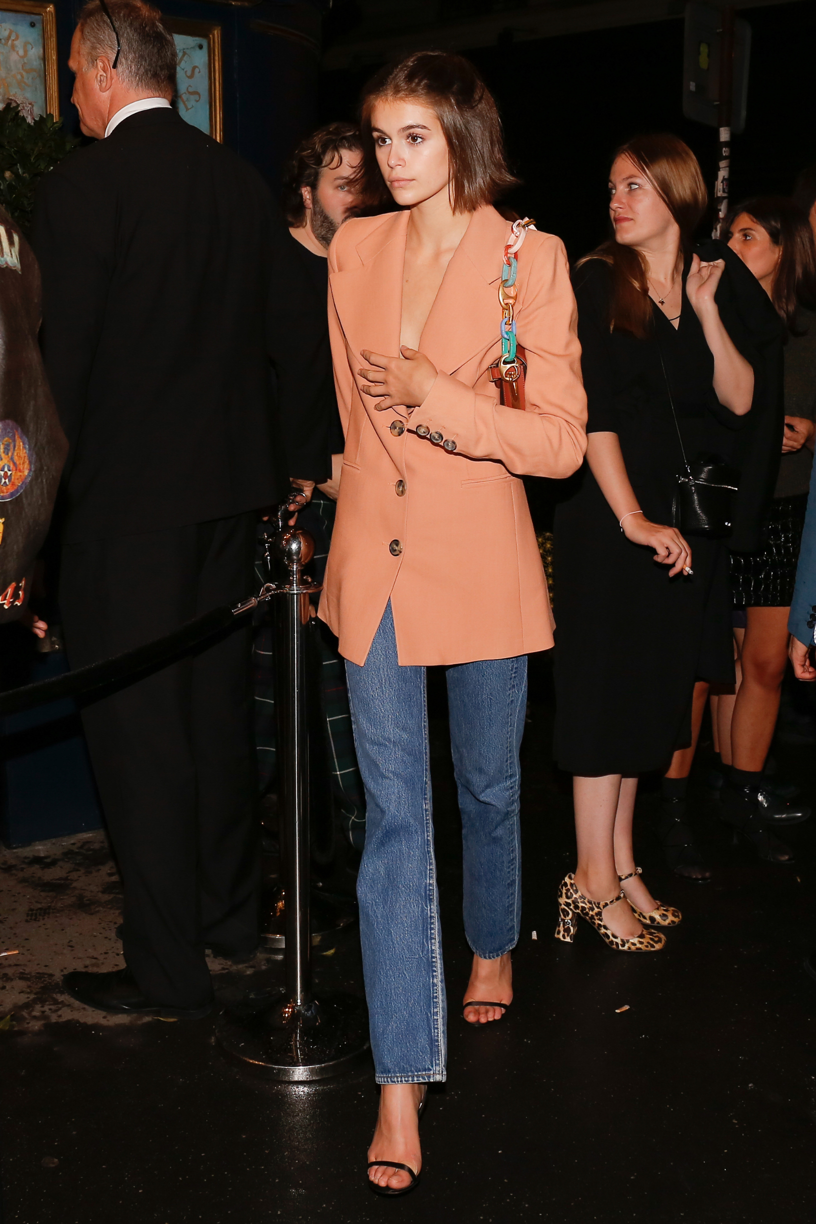 October 1st, 2019 - Paris  ****** Exclusive ******                            Kaia Gerber leaving Miu Miu after party during the Paris Fashion Week 2019  ****** BYLINE MUST READ : © Spread Pictures ******  ****** No Web Usage before agreement ******  ******Please hide the children's faces prior to the publication******  ****** Stricly No Mobile Phone Application or Apps use without our Prior Agreement ******  Enquiries at photo@spreadpictures.com, Image: 474797957, License: Rights-managed, Restrictions: WORLDWIDE, Model Release: no, Credit line: MCC / Spread Pictures / Profimedia