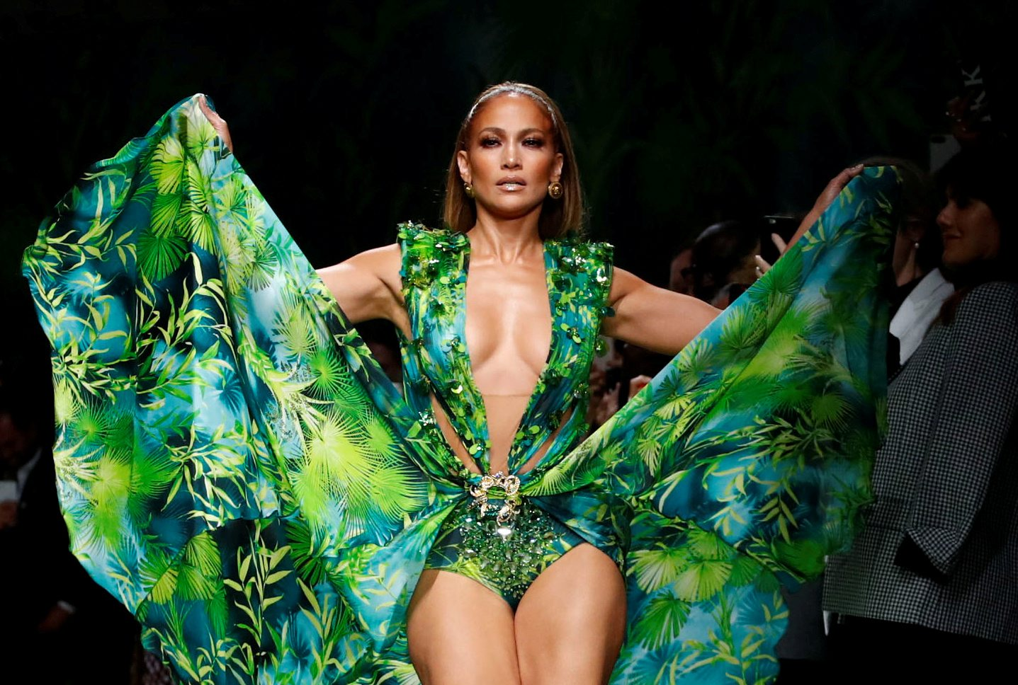 FILE PHOTO: Jennifer Lopez presents a creation from the Versace Spring/Summer 2020 collection during fashion week in Milan, Italy September 20, 2019. REUTERS/Alessandro Garofalo/File Photo