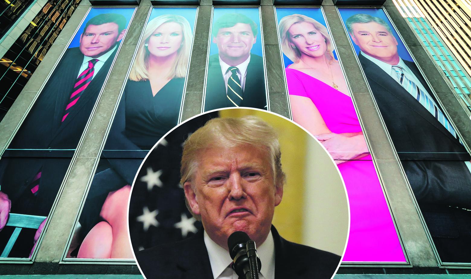 Posteri s voditeljima emisija na Fox Newsu i Donald Trump