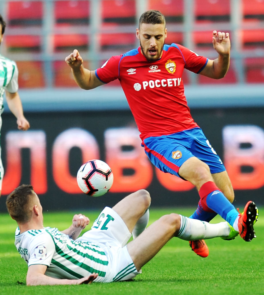 MOSCOW, RUSSIA - MAY 18: Nikola Vlasic of PFC CSKA Moscow and Andrei Semyonov of FC Akhmat Grozny vie for the ball during the Russian Football League match between PFC CSKA Moscow and FC Akhmat Grozny at Arena CSKA stadium on May 18, 2019 in Moscow, Russia. (Photo by Epsilon/Getty Images)