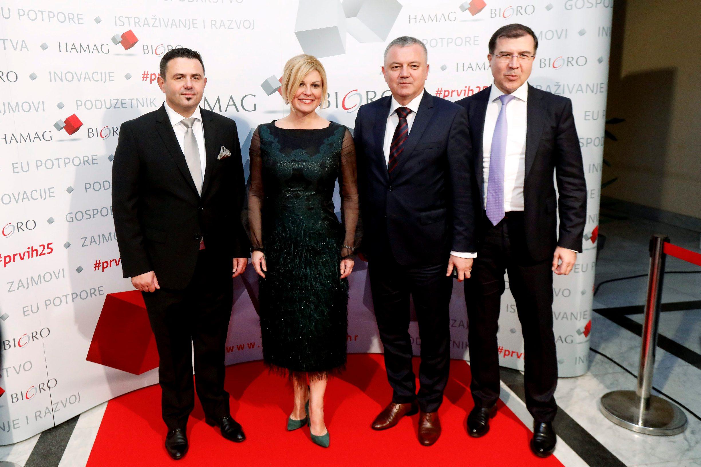 Vjeran Vrbanec - predsjednik Uprave Hamag Bicro, Kolinda Grabar Kitarović, Darko Horvat, Ivan Domagoj Milošević.
