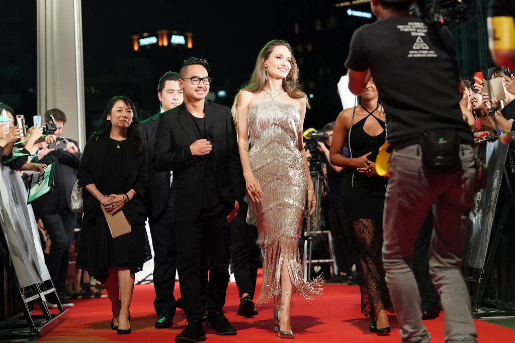 TOKYO, JAPAN - OCTOBER 03: Angelina Jolie (R) and son Maddox Jolie-Pitt attend the Japan premiere of 'Maleficent: Mistress of Evil' on October 03, 2019 in Tokyo, Japan. (Photo by Christopher Jue/Getty Images for Disney)