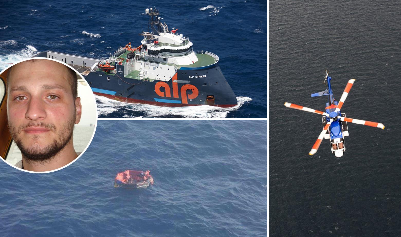 Dino Miškić, brod Alp Striker, spašeni pomorci s Bourbon Rhodea i ilustracija helikoptera Sikorsky S-92