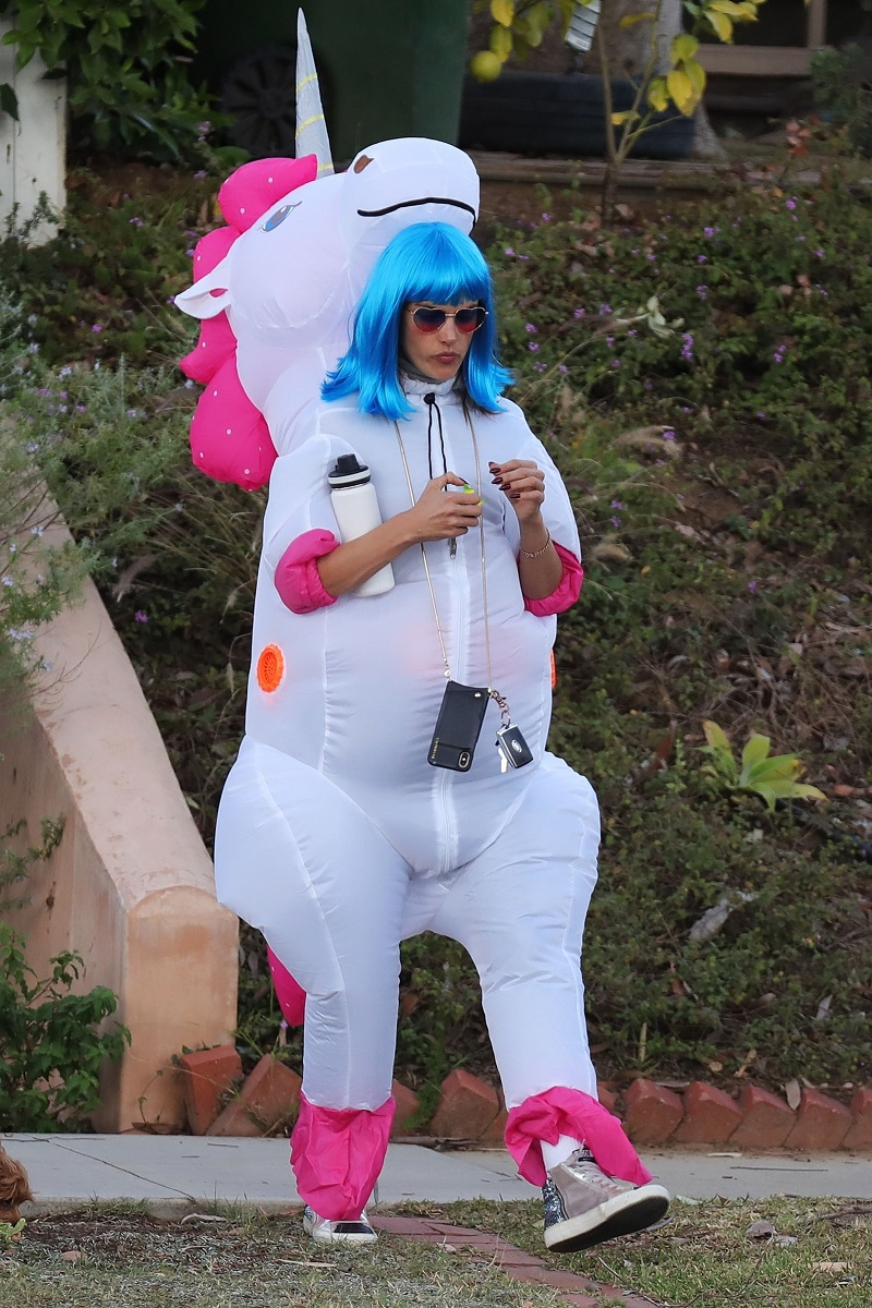 *EXCLUSIVE* Los Angeles, CA  - Alessandra Ambrosio takes the kids trick or treating for Halloween! The Brazilian bombshell donned a blue wig and dressed up as a unicorn. Daughter Anja sported a similar unicorn outfit, while son Noah was the grim reaper. The happy family could be seen walking in the neighborhood along with a group of friends as they went on their candy quest.  *UK Clients - Pictures Containing Children Please Pixelate Face Prior To Publication*, Image: 480301499, License: Rights-managed, Restrictions: , Model Release: no, Credit line: BACKGRID / BACKGRID / Backgrid USA / Profimedia
