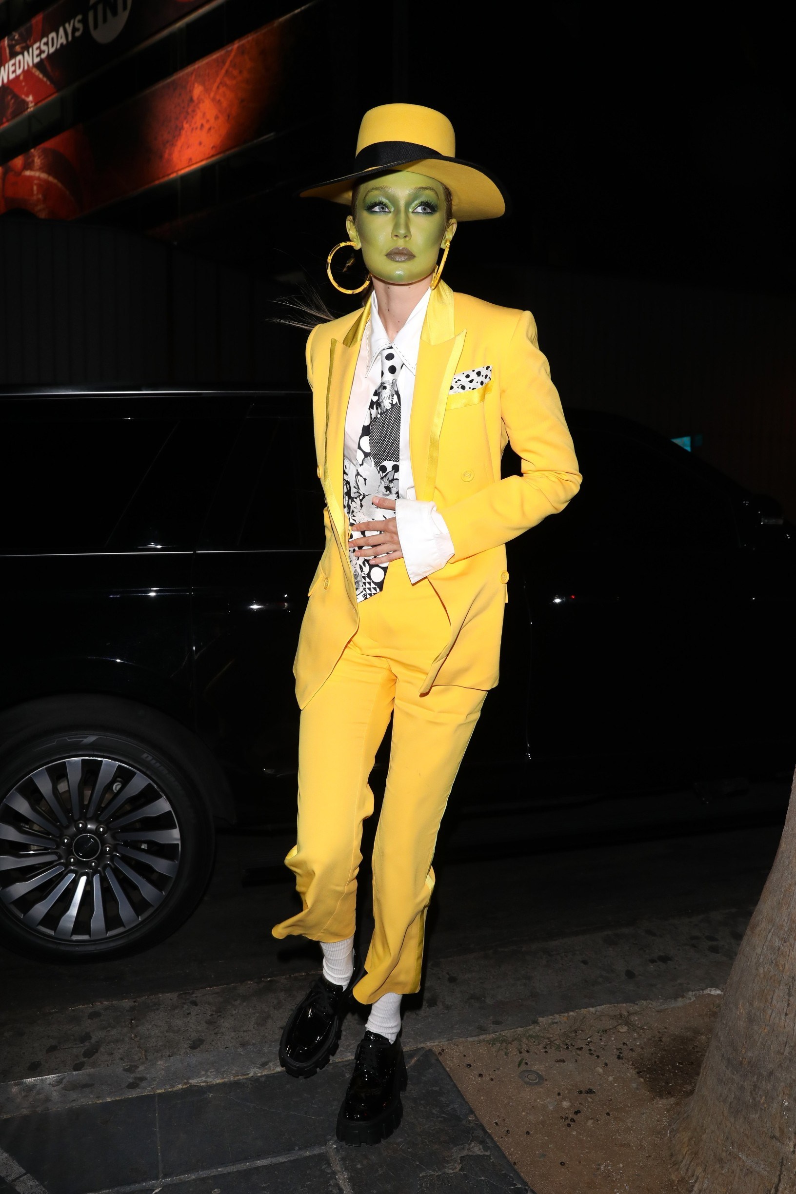 Gigi Hadid is dressed as Jim Carrey's character The Mask as she goes Kendall Jenner's Halloween party at Blind Dragon in West Hollywood. 31 Oct 2019, Image: 480358969, License: Rights-managed, Restrictions: World Rights, Model Release: no, Credit line: iamKevinWong.com /MEGA / Mega Agency / Profimedia