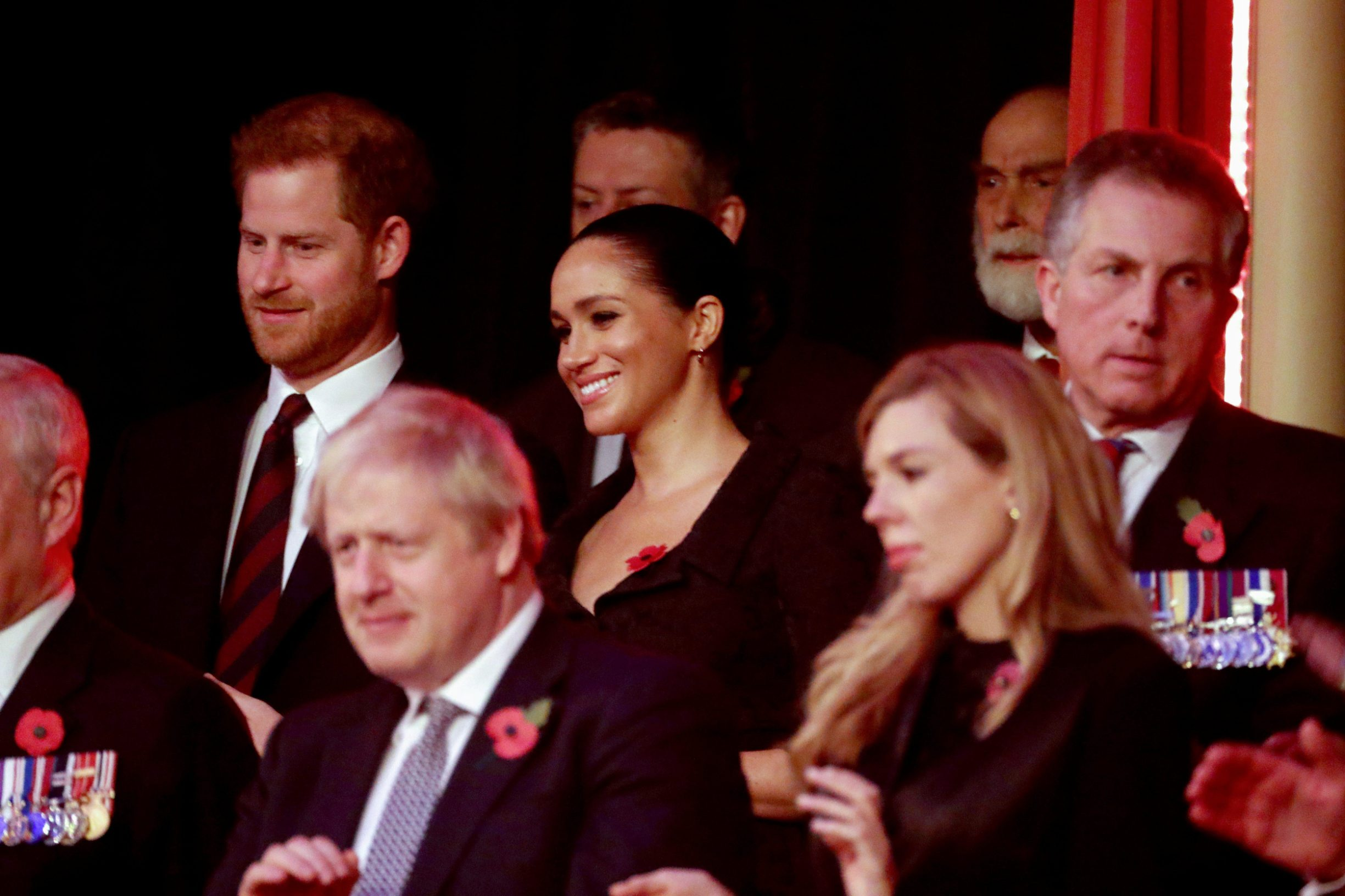 Britain's Prince Harry, Meghan, Duchess of Sussex, Prime Minister Boris Johnson and Carrie Symonds attend the annual Royal British Legion Festival of Remembrance at the Royal Albert Hall, London, Britain, November 9, 2019.  Chris Jackson/Pool/via REUTERS