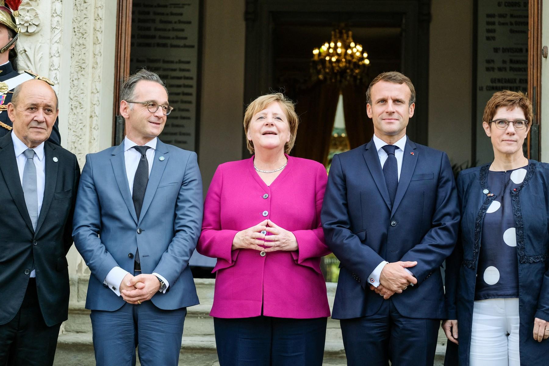 Heiko Maas, Angela Merkel, Emmanuel Macron