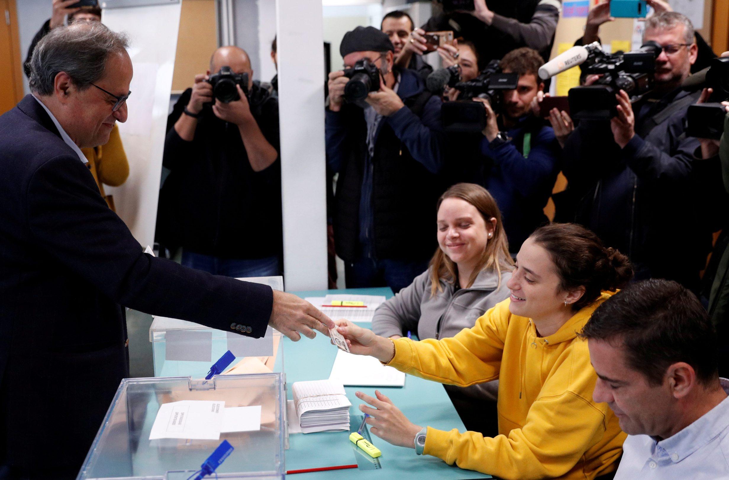 katalonski predsjednik vlade Quim Torra na biračkom mjestu u Barceloni
