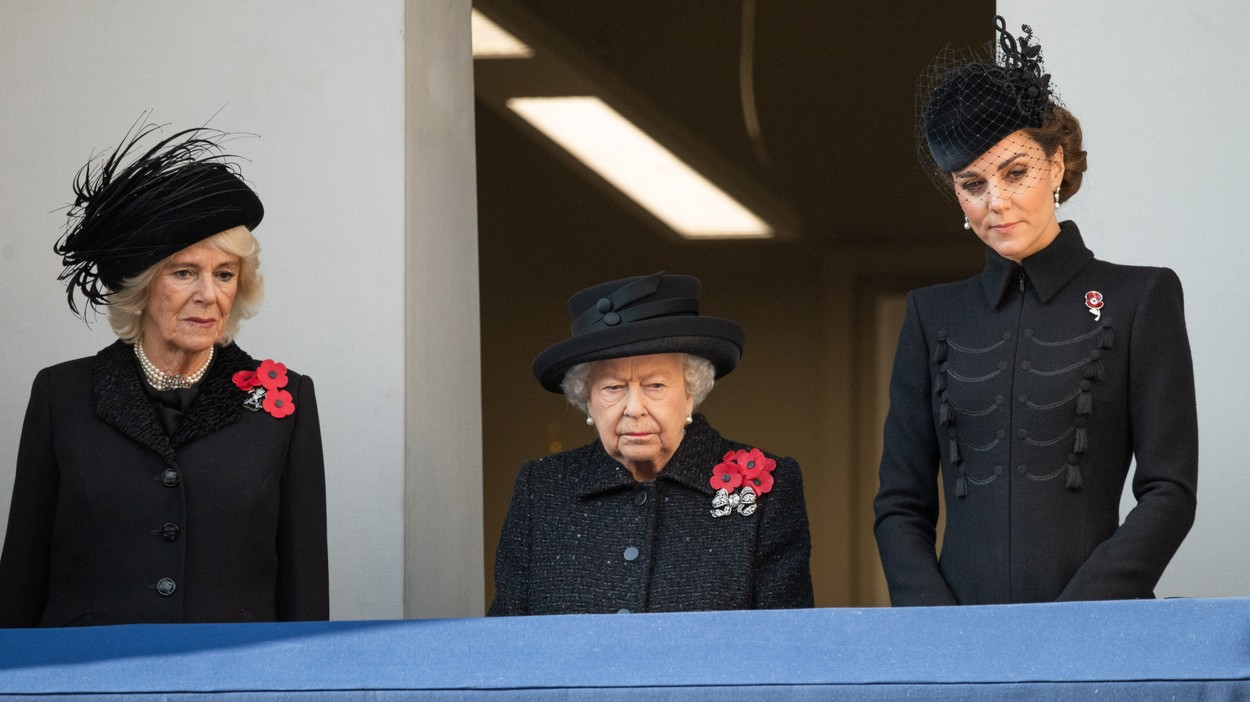 Camilla, Duchess of Cornwall, Queen Elizabeth ll and Catherine, Duchess of Cambridge attend the annual Remembrance  Sunday Memorial at The Cenotaph in London on November 10, 2019., Image: 482197966, License: Rights-managed, Restrictions: , Model Release: no, Credit line: Anwar Hussein / PA Images / Profimedia