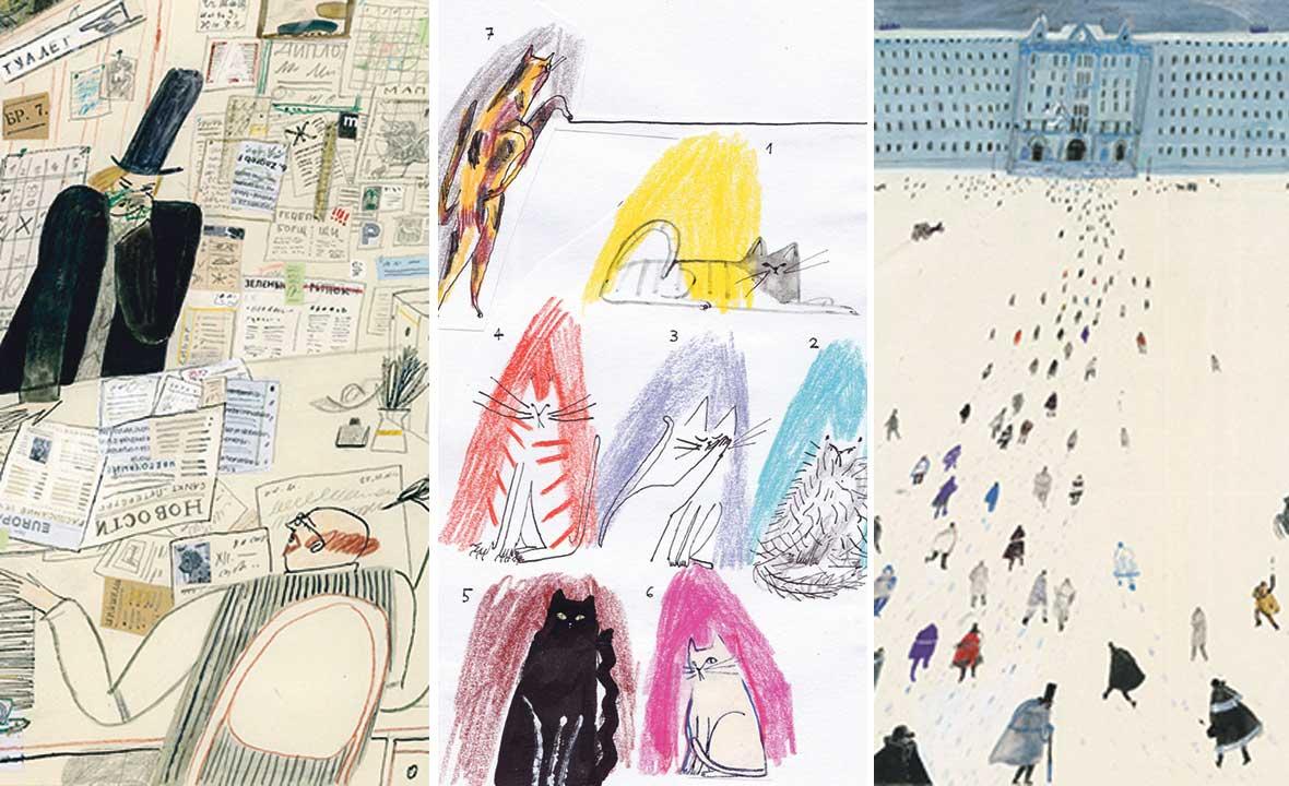 """Ilustracija za Gogoljevu Kabanicu (desno), za """"Sedam mačaka"""" Danila Harmsa u izdanju Malih zvona (u sredini) i za Gogoljev """"Nos"""", koji će se tiskati u Južnoj Americi (lijevo)"""